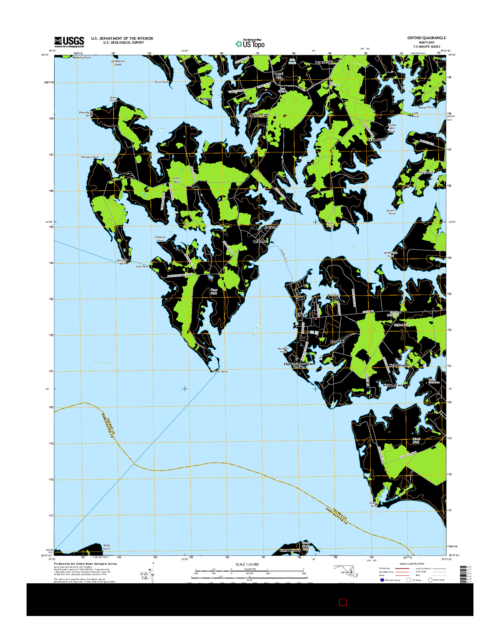 USGS US TOPO 7.5-MINUTE MAP FOR OXFORD, MD 2014