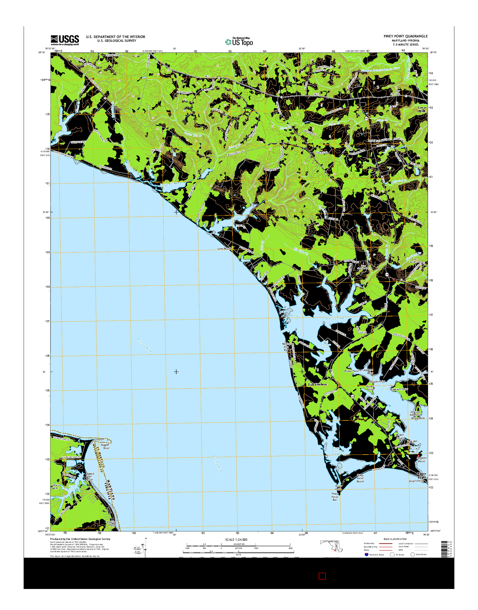 USGS US TOPO 7.5-MINUTE MAP FOR PINEY POINT, MD-VA 2014