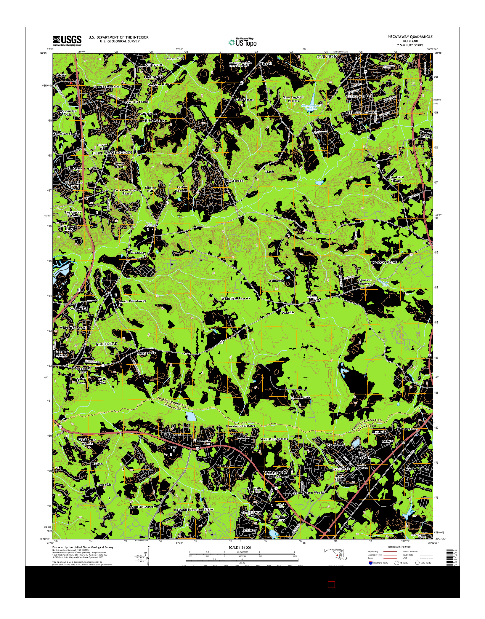 USGS US TOPO 7.5-MINUTE MAP FOR PISCATAWAY, MD 2014
