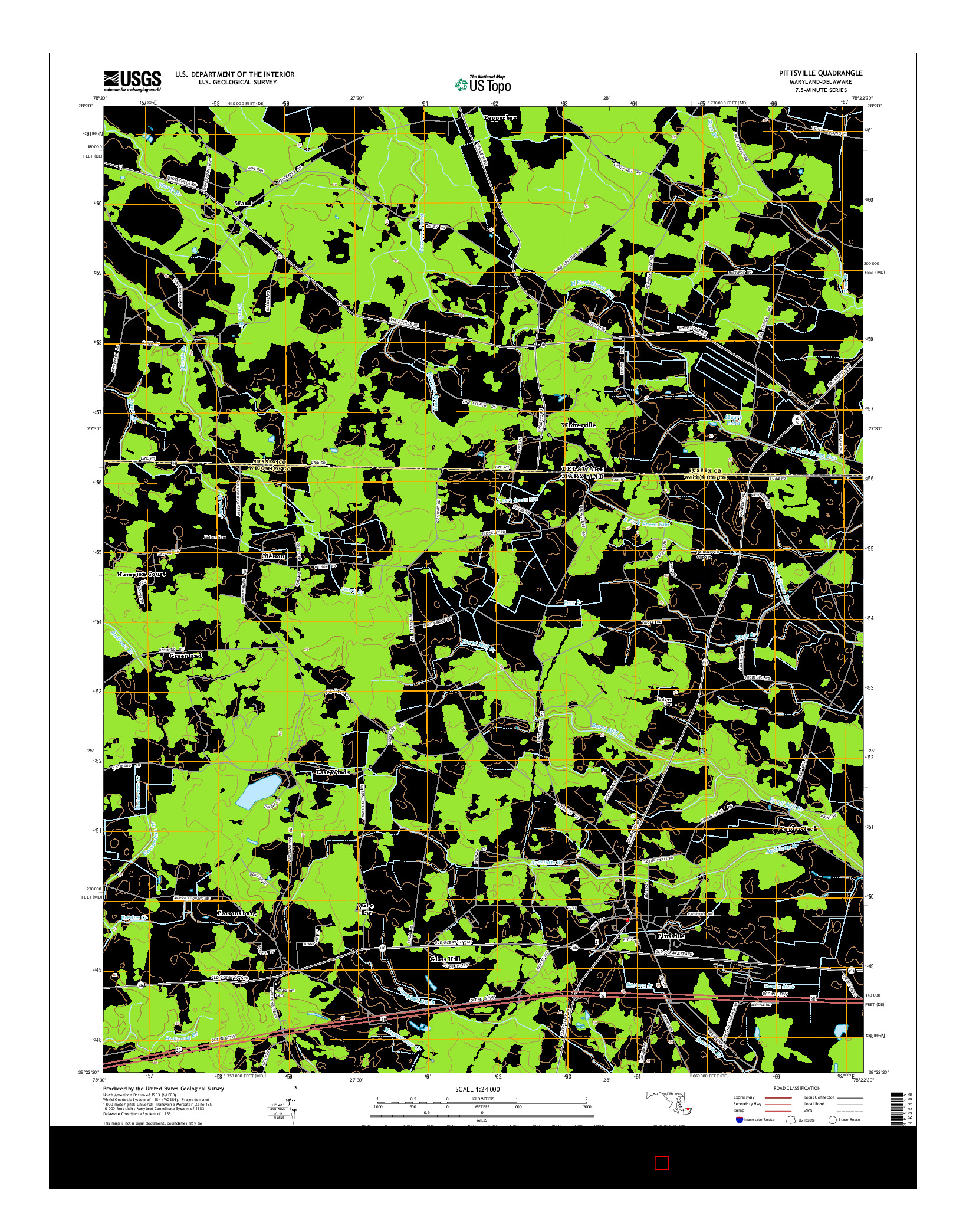 USGS US TOPO 7.5-MINUTE MAP FOR PITTSVILLE, MD-DE 2014