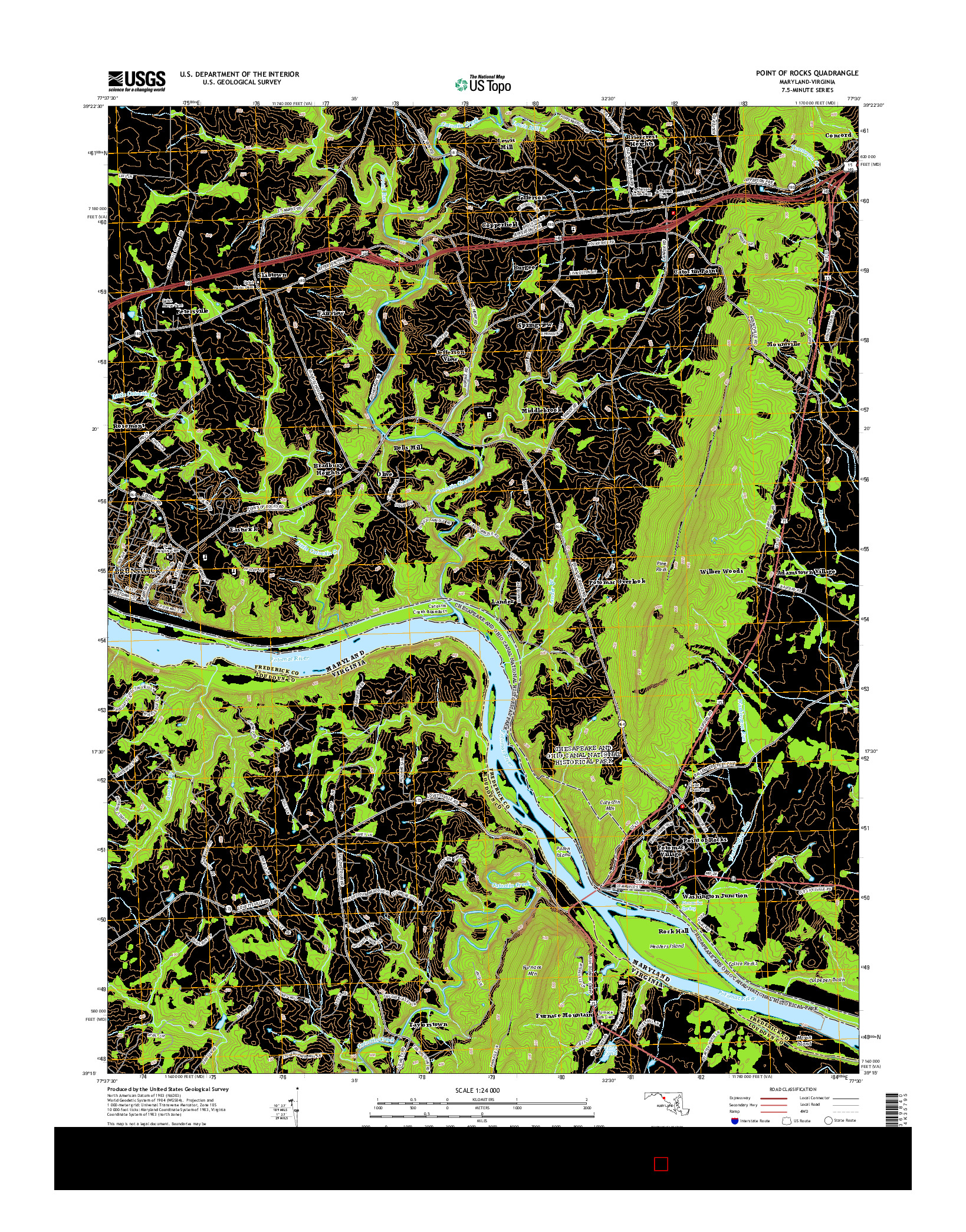 USGS US TOPO 7.5-MINUTE MAP FOR POINT OF ROCKS, MD-VA 2014