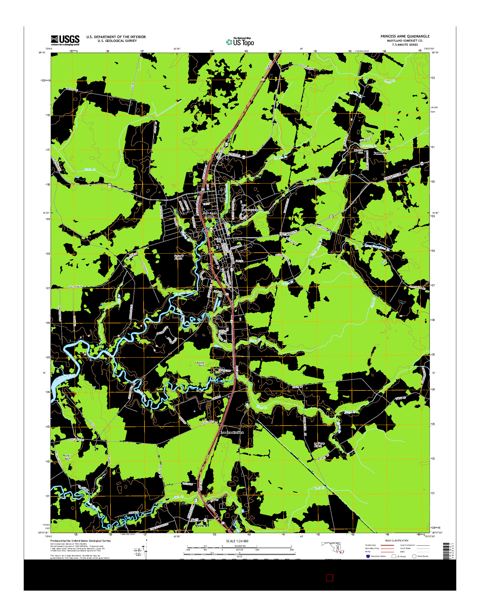 USGS US TOPO 7.5-MINUTE MAP FOR PRINCESS ANNE, MD 2014