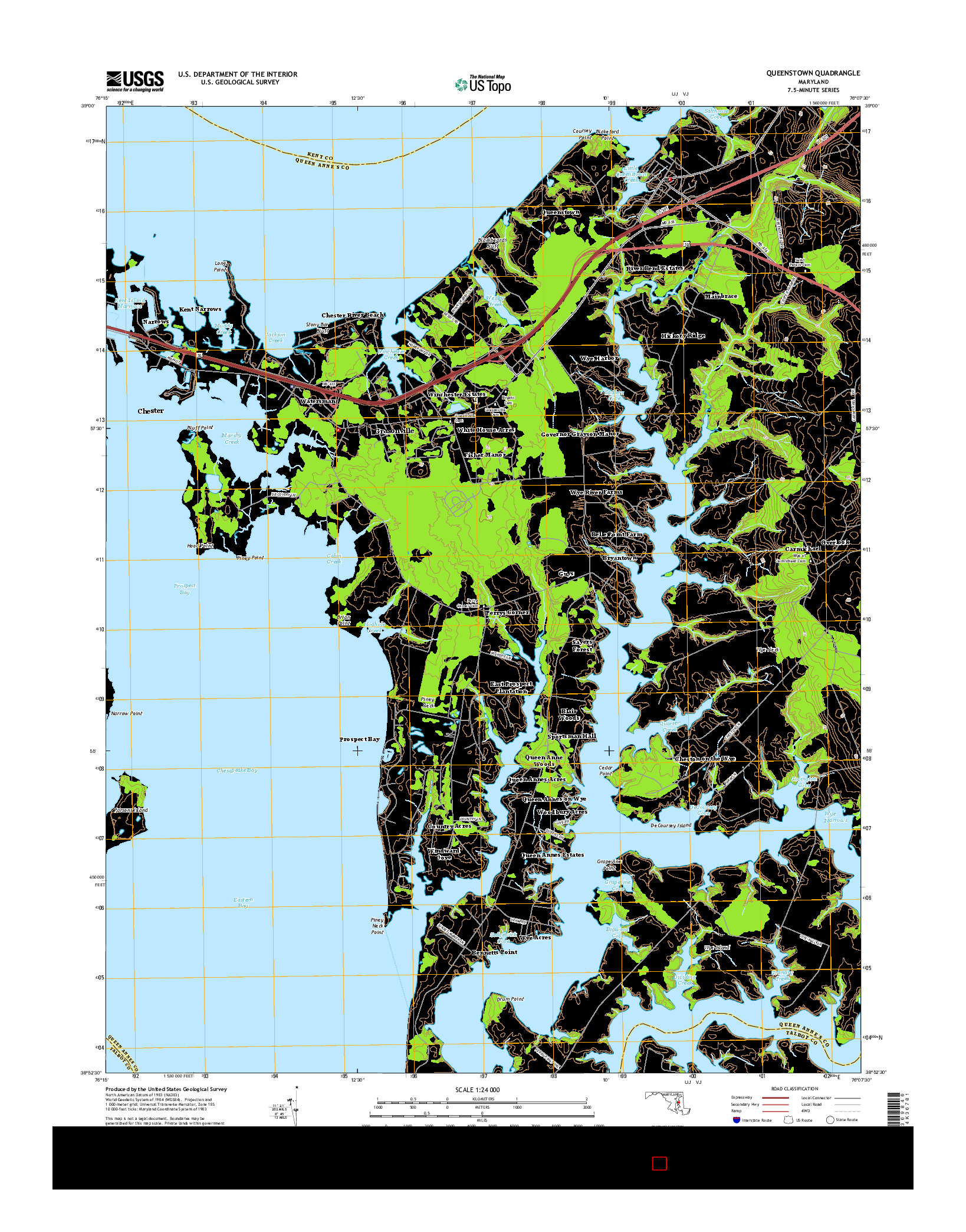 USGS US TOPO 7.5-MINUTE MAP FOR QUEENSTOWN, MD 2014
