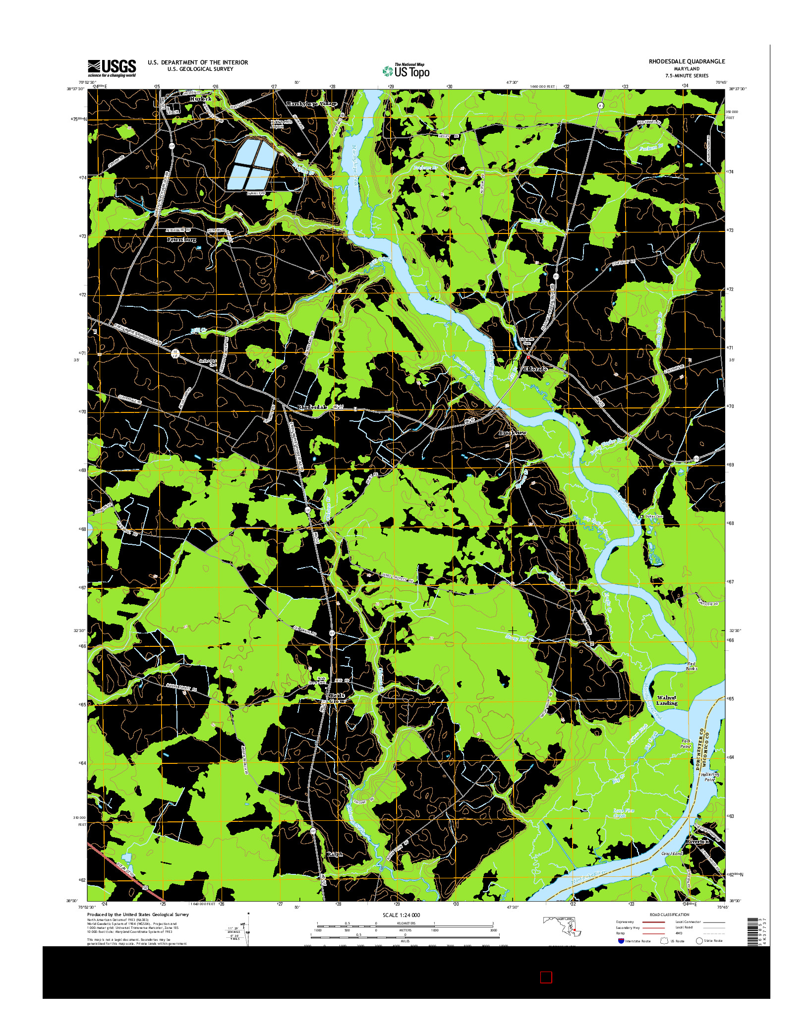 USGS US TOPO 7.5-MINUTE MAP FOR RHODESDALE, MD 2014