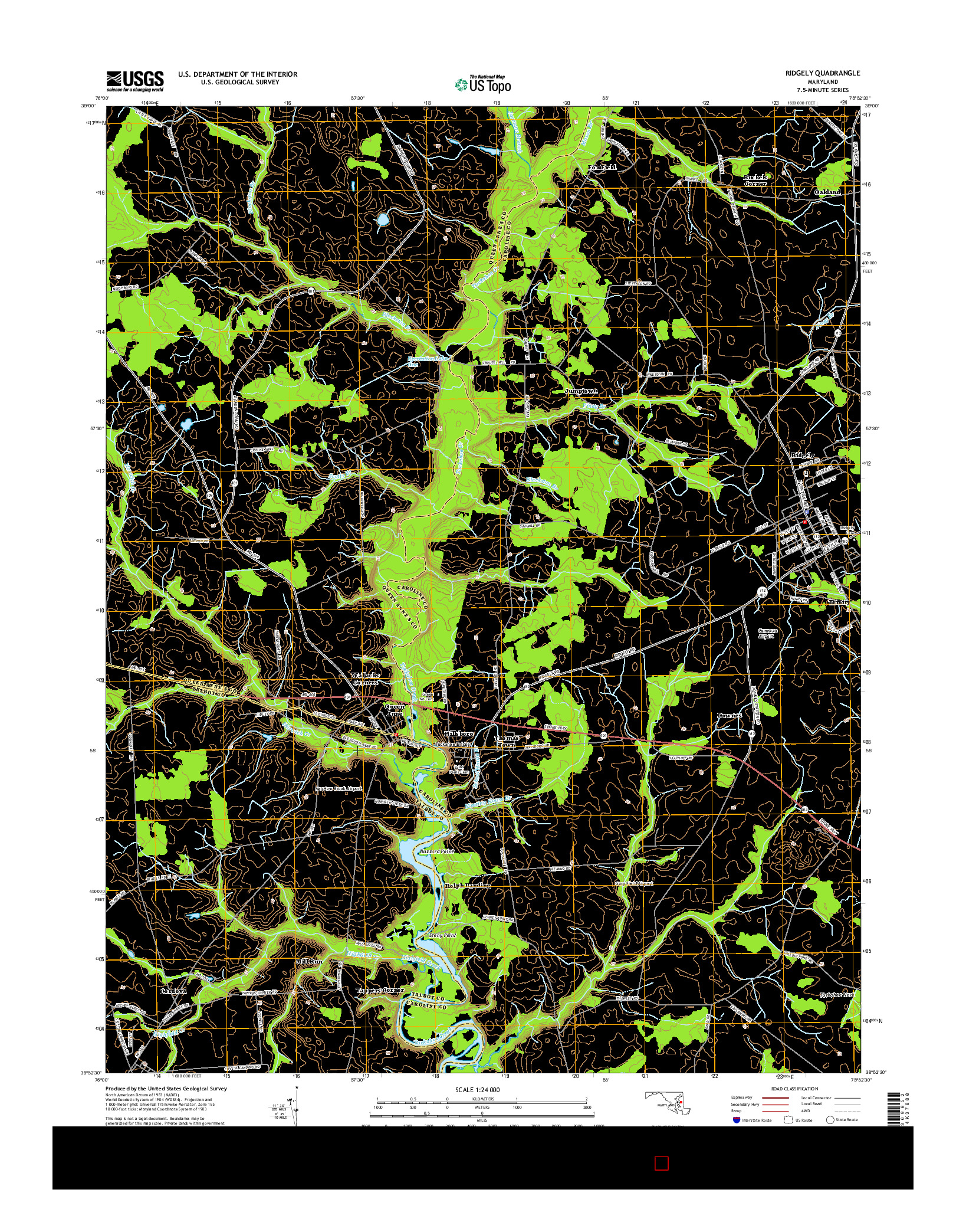 USGS US TOPO 7.5-MINUTE MAP FOR RIDGELY, MD 2014