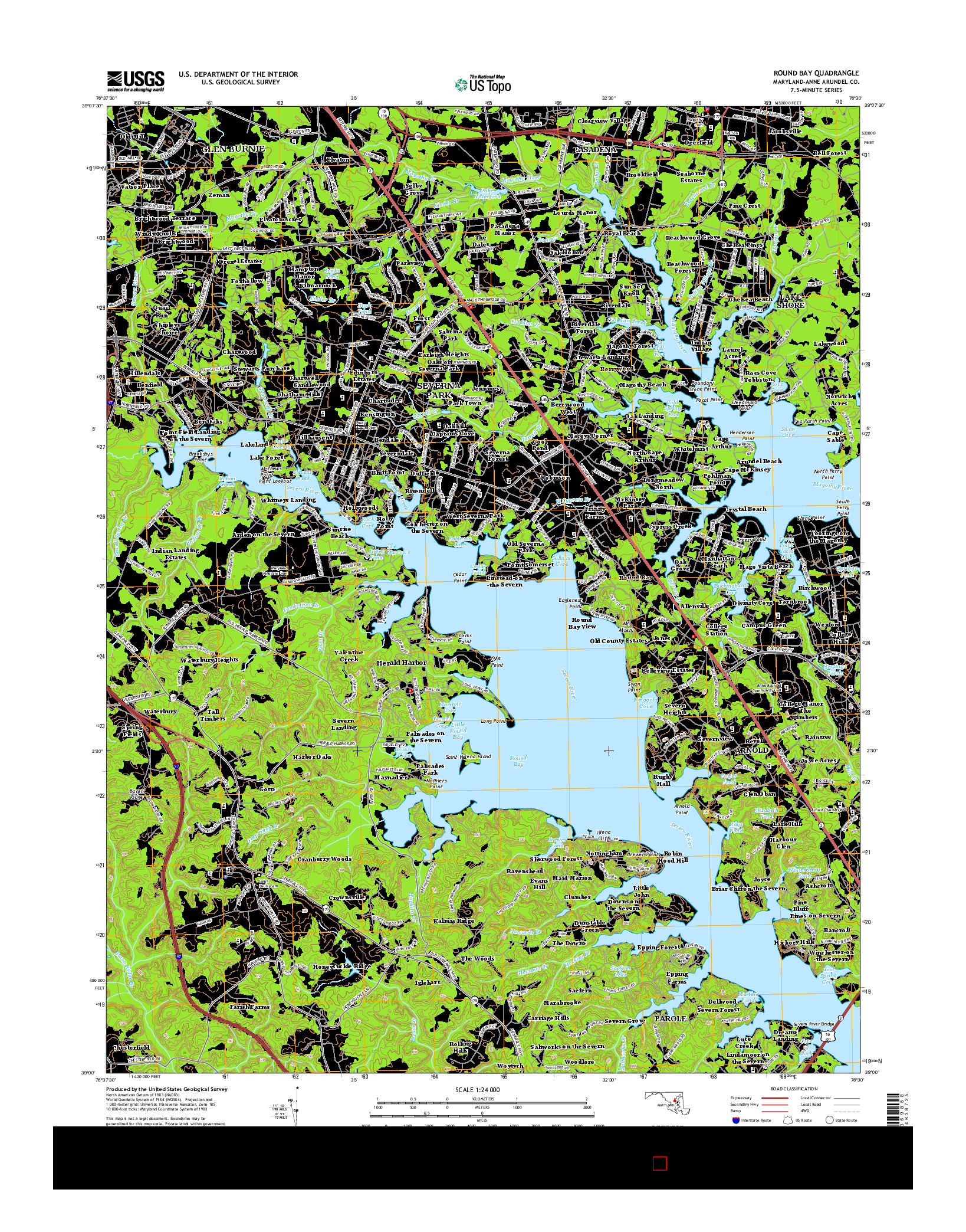 USGS US TOPO 7.5-MINUTE MAP FOR ROUND BAY, MD 2014