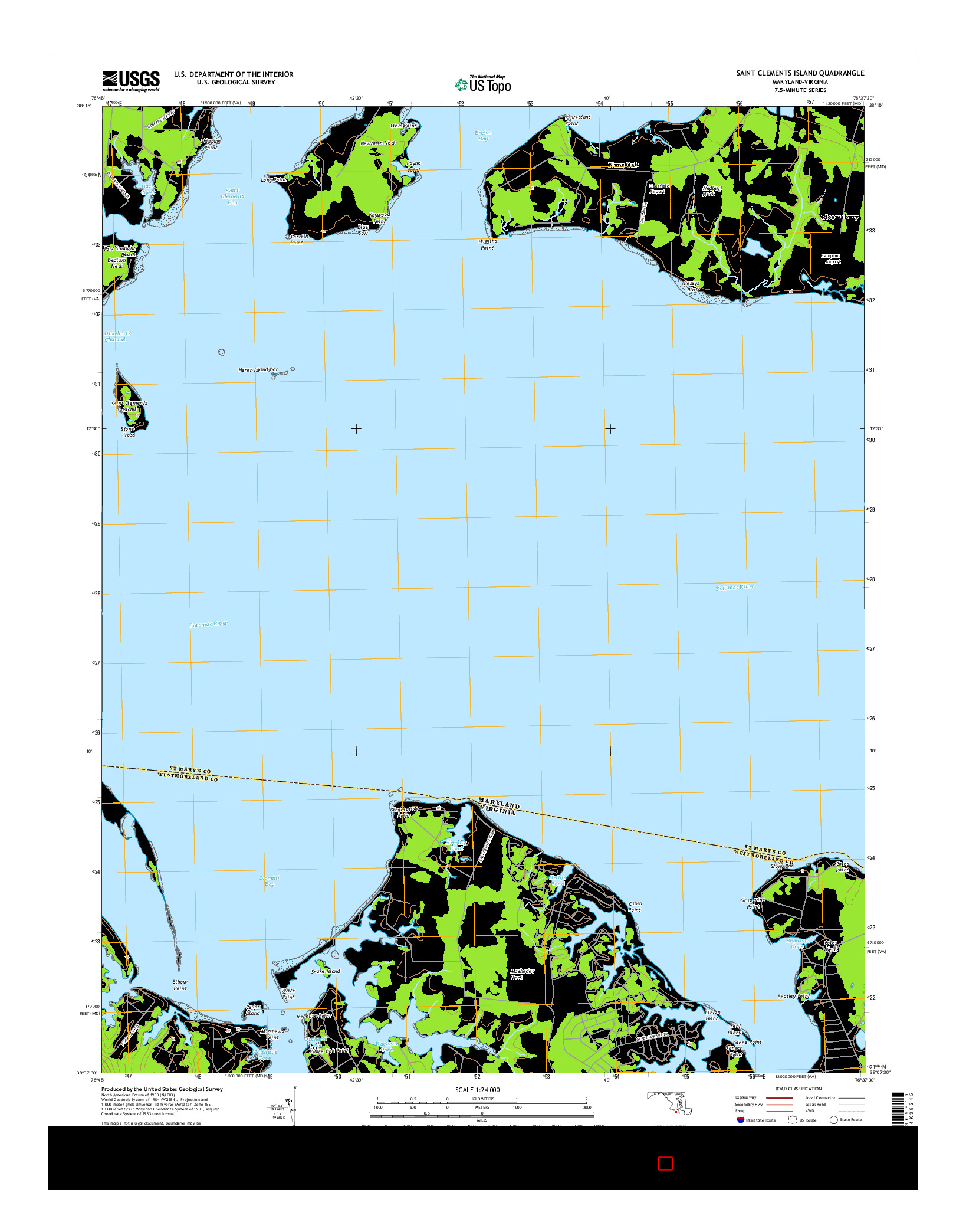 USGS US TOPO 7.5-MINUTE MAP FOR SAINT CLEMENTS ISLAND, MD-VA 2014