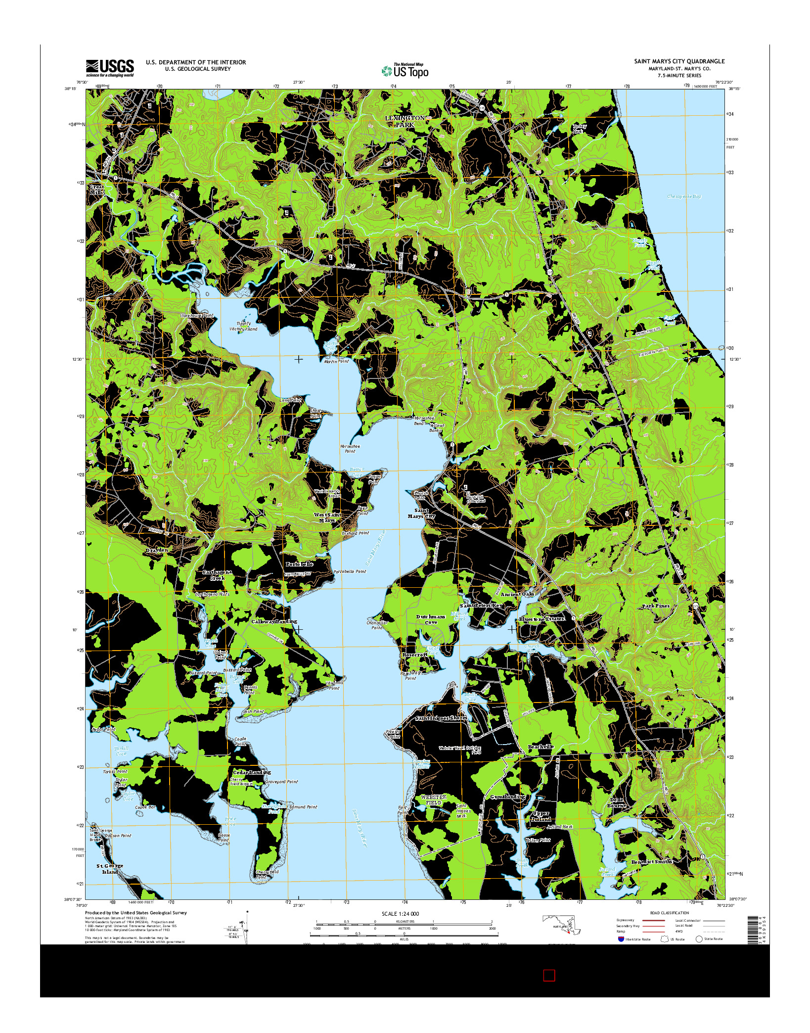 USGS US TOPO 7.5-MINUTE MAP FOR SAINT MARYS CITY, MD 2014