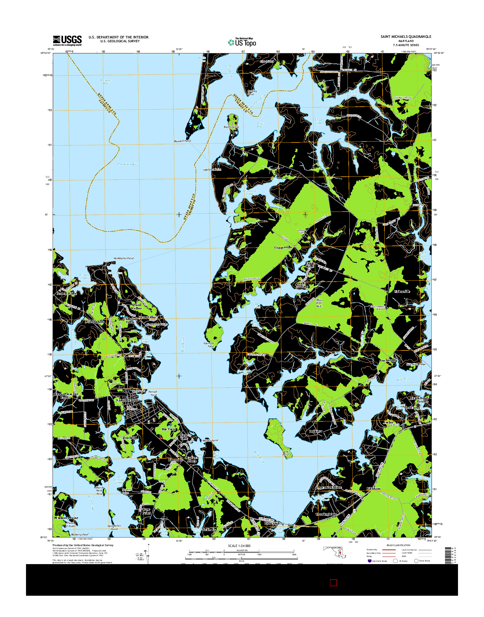 USGS US TOPO 7.5-MINUTE MAP FOR SAINT MICHAELS, MD 2014