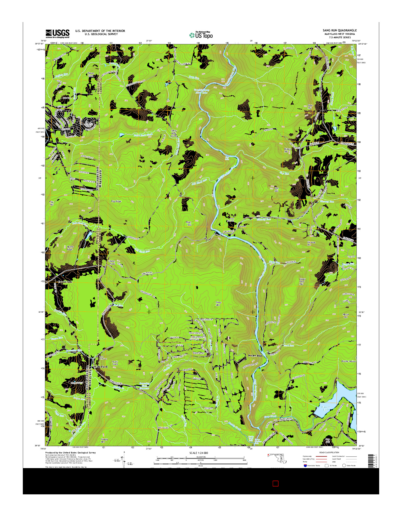USGS US TOPO 7.5-MINUTE MAP FOR SANG RUN, MD-WV 2014