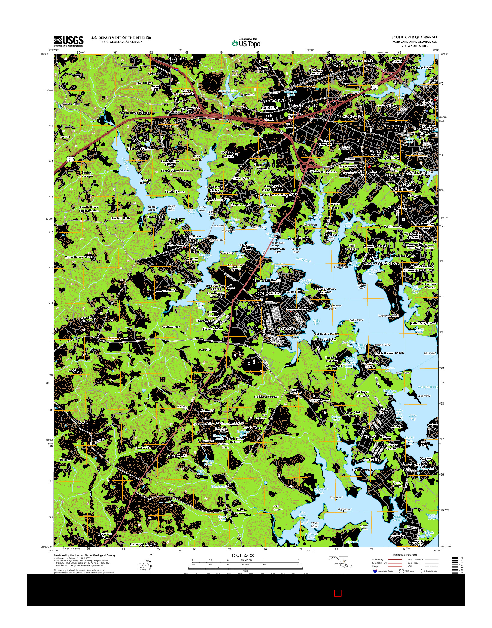 USGS US TOPO 7.5-MINUTE MAP FOR SOUTH RIVER, MD 2014
