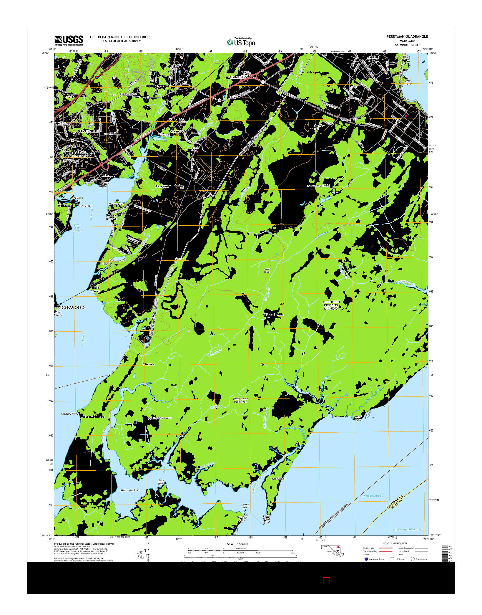USGS US TOPO 7.5-MINUTE MAP FOR PERRYMAN, MD 2014