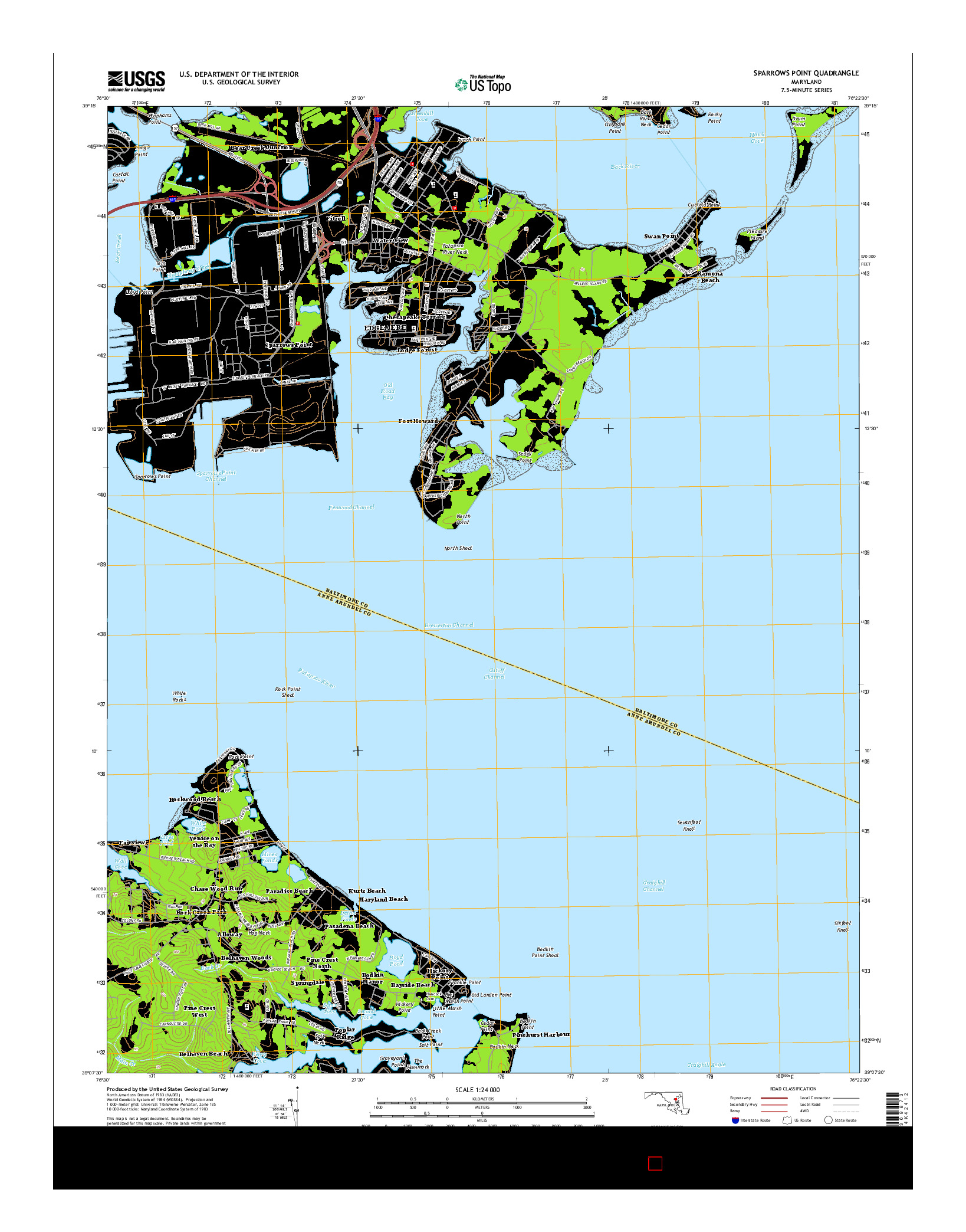 USGS US TOPO 7.5-MINUTE MAP FOR SPARROWS POINT, MD 2014