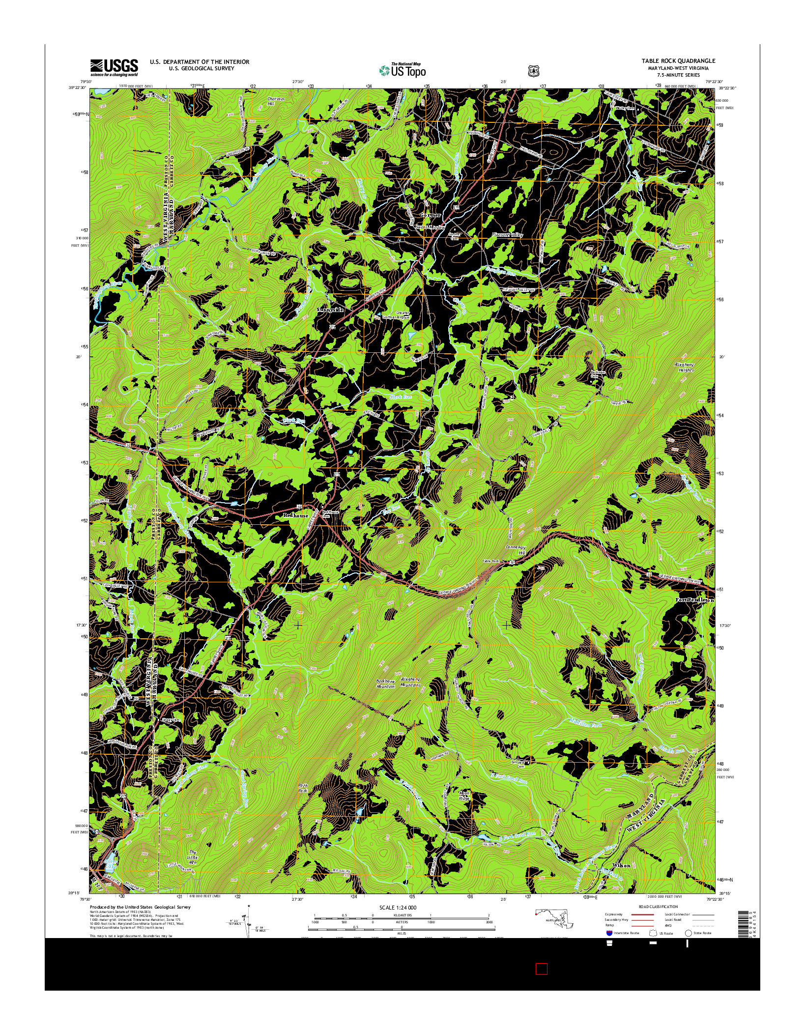 USGS US TOPO 7.5-MINUTE MAP FOR TABLE ROCK, MD-WV 2014