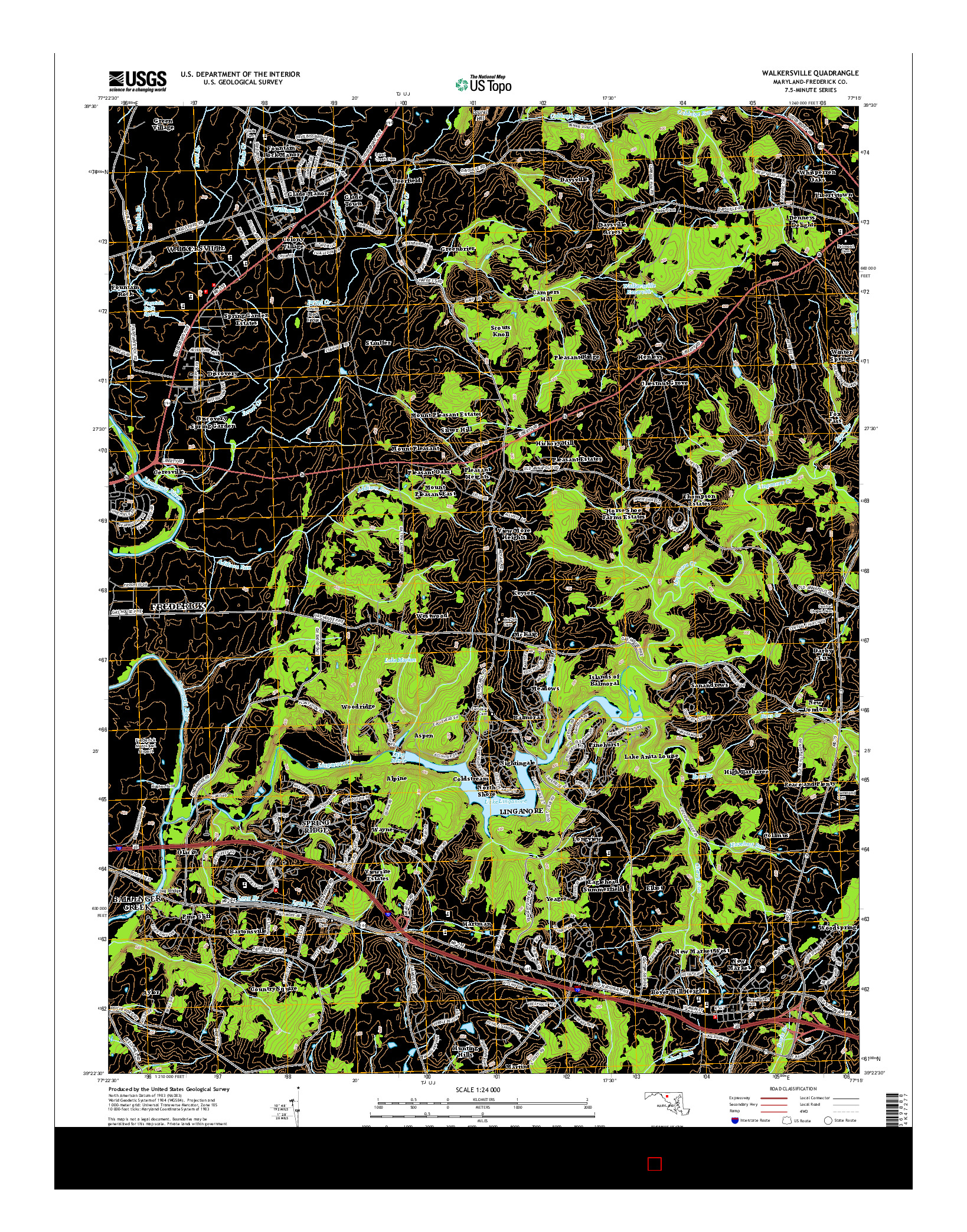 USGS US TOPO 7.5-MINUTE MAP FOR WALKERSVILLE, MD 2014