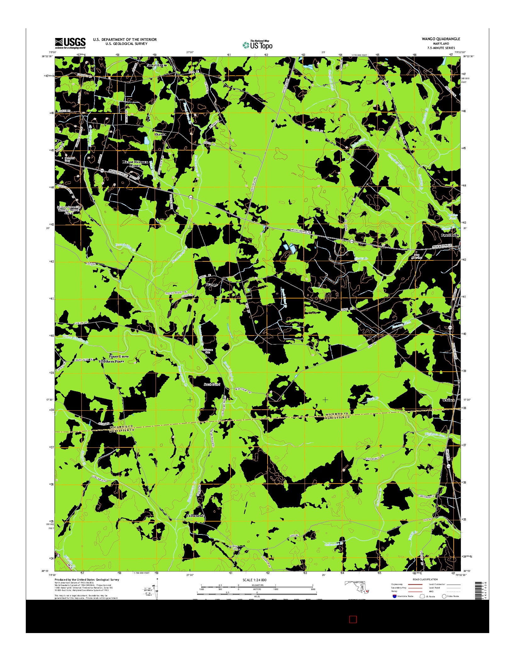 USGS US TOPO 7.5-MINUTE MAP FOR WANGO, MD 2014