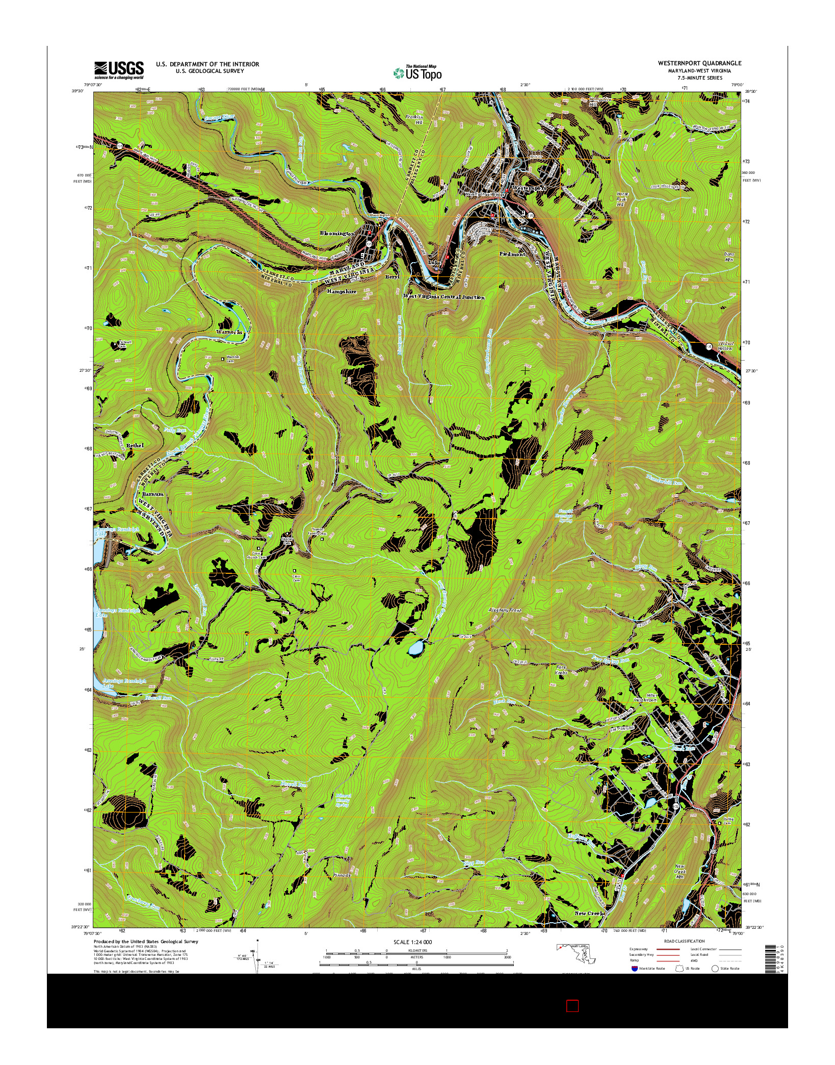 USGS US TOPO 7.5-MINUTE MAP FOR WESTERNPORT, MD-WV 2014