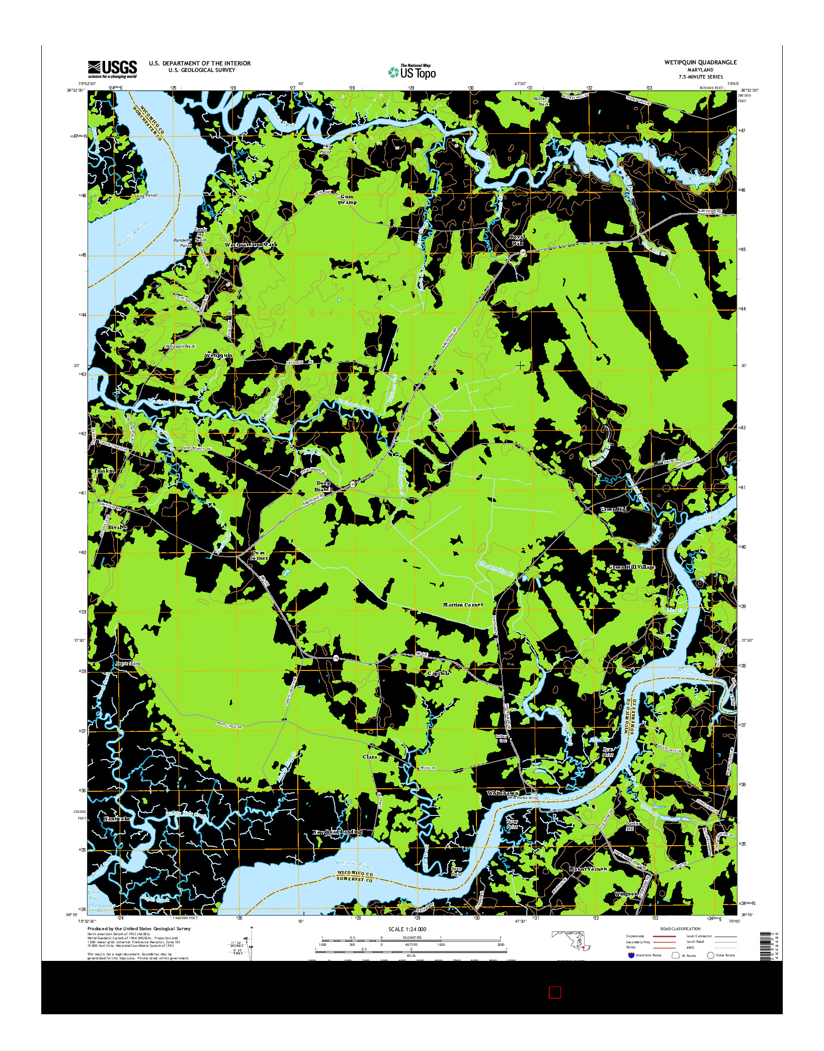 USGS US TOPO 7.5-MINUTE MAP FOR WETIPQUIN, MD 2014