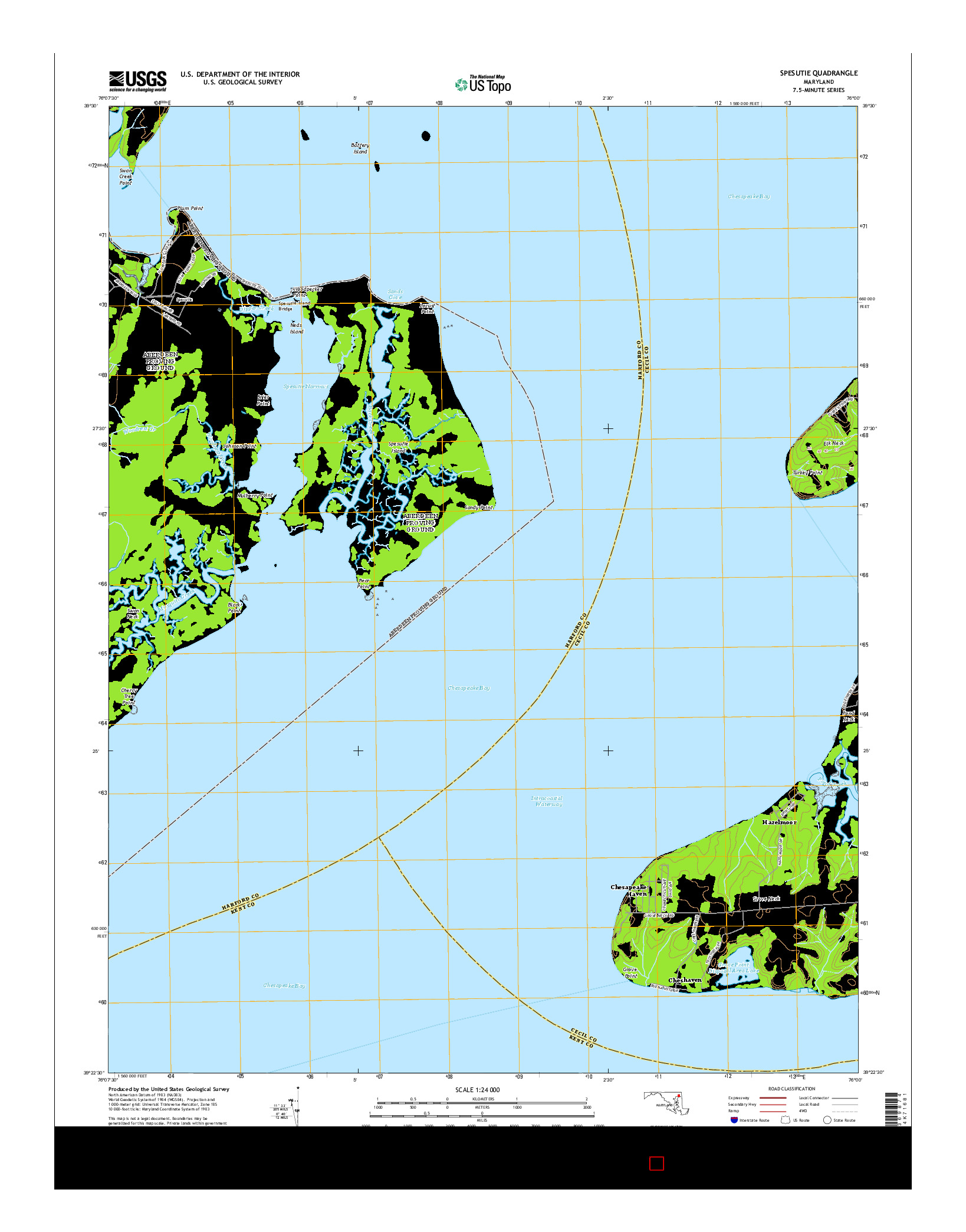 USGS US TOPO 7.5-MINUTE MAP FOR SPESUTIE, MD 2014
