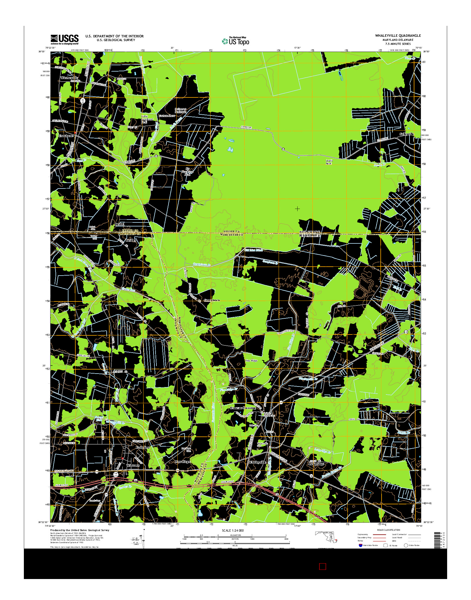 USGS US TOPO 7.5-MINUTE MAP FOR WHALEYVILLE, MD-DE 2014