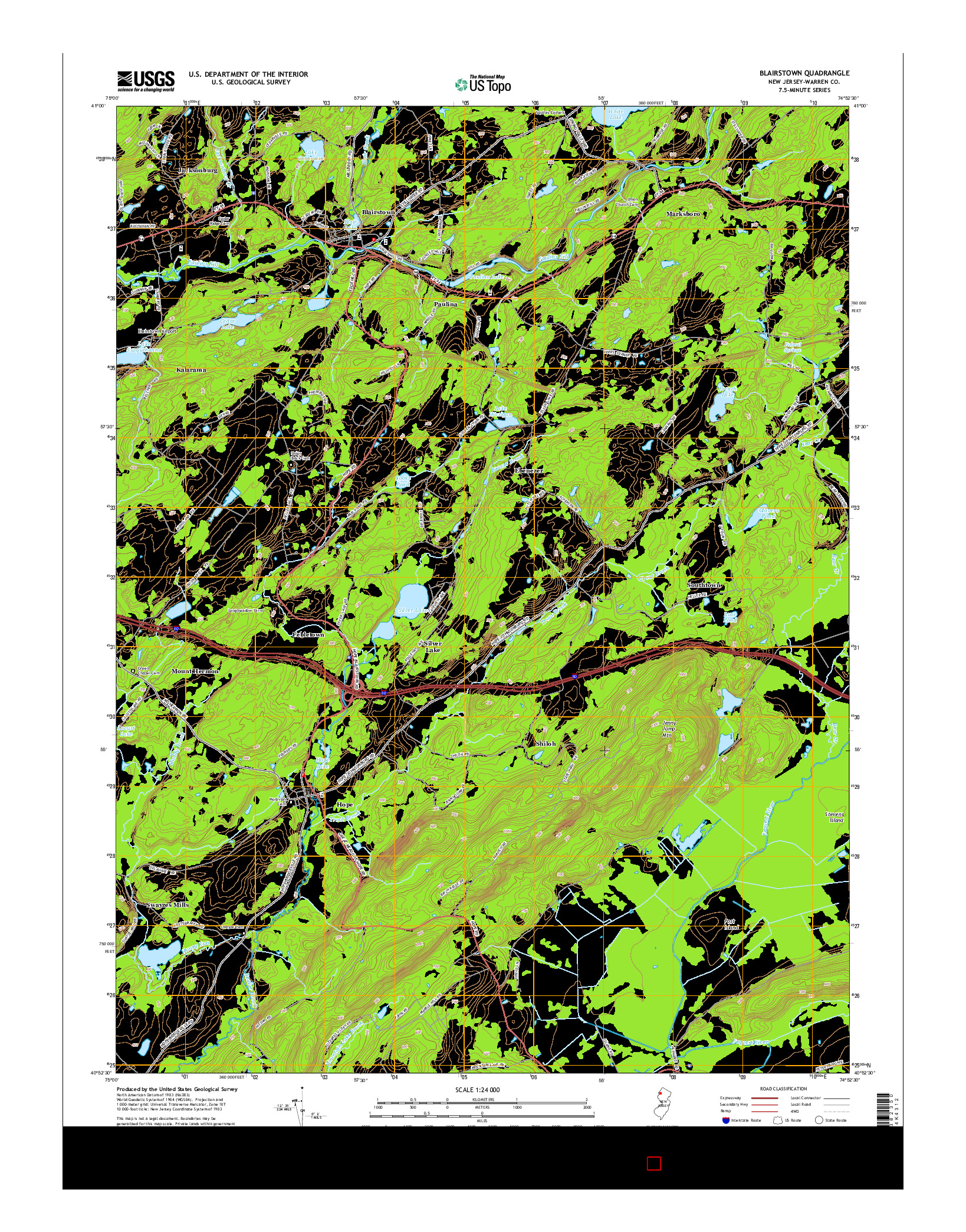 USGS US TOPO 7.5-MINUTE MAP FOR BLAIRSTOWN, NJ 2014
