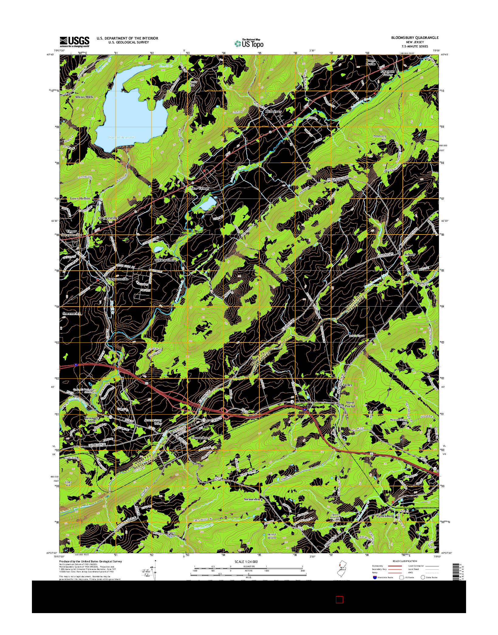 USGS US TOPO 7.5-MINUTE MAP FOR BLOOMSBURY, NJ 2014