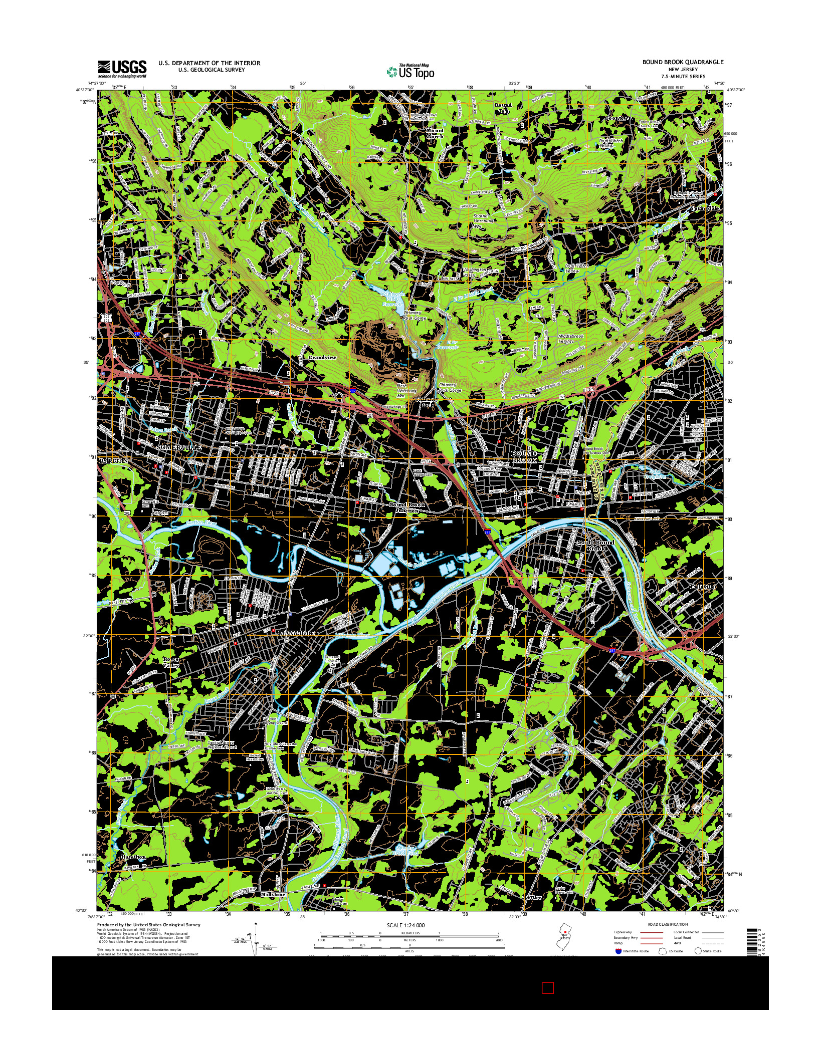 USGS US TOPO 7.5-MINUTE MAP FOR BOUND BROOK, NJ 2014