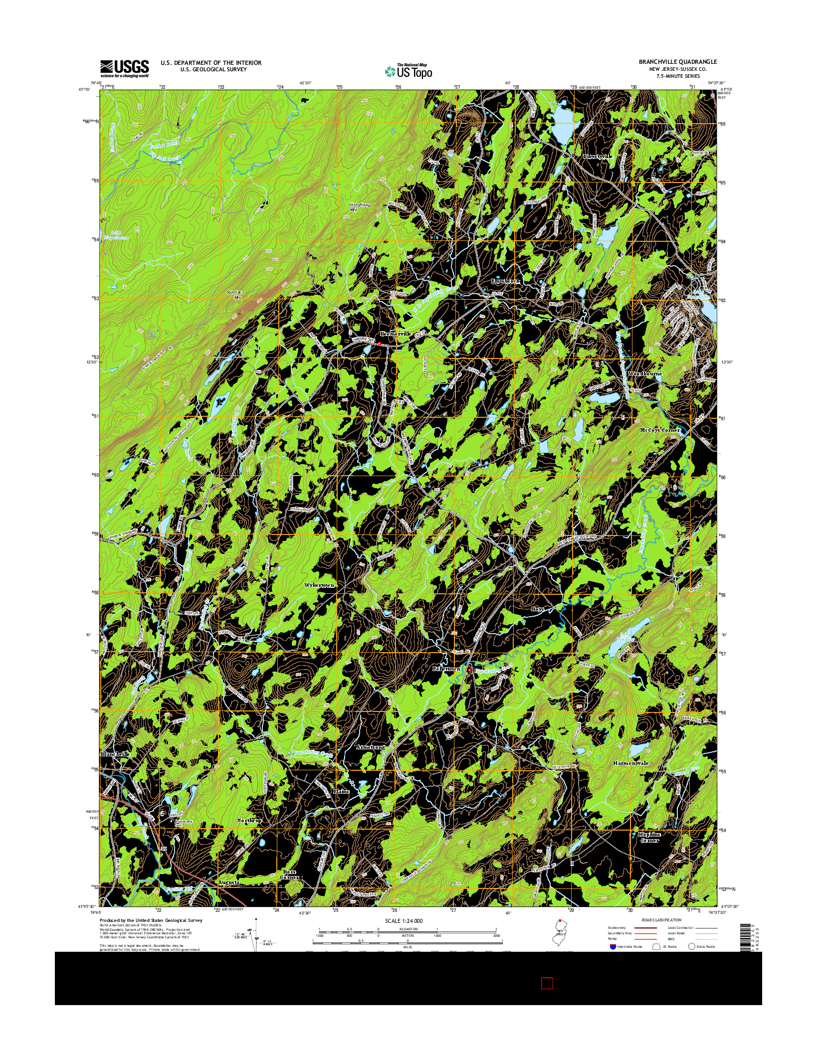 USGS US TOPO 7.5-MINUTE MAP FOR BRANCHVILLE, NJ 2014