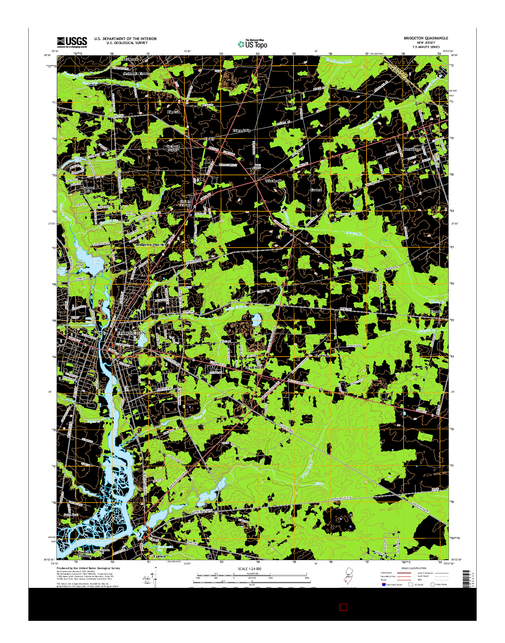 USGS US TOPO 7.5-MINUTE MAP FOR BRIDGETON, NJ 2014