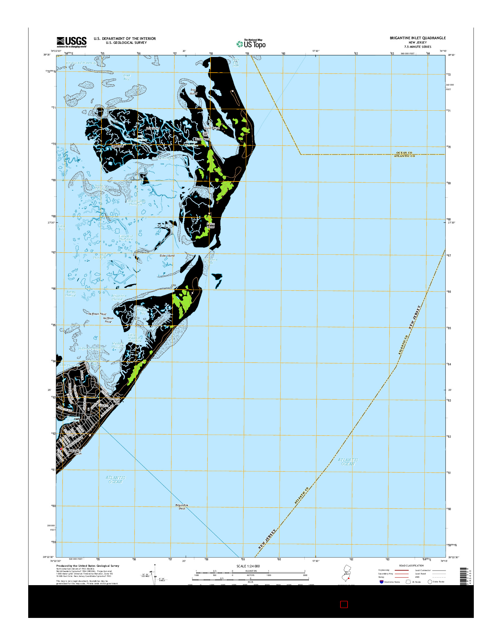 USGS US TOPO 7.5-MINUTE MAP FOR BRIGANTINE INLET, NJ 2014