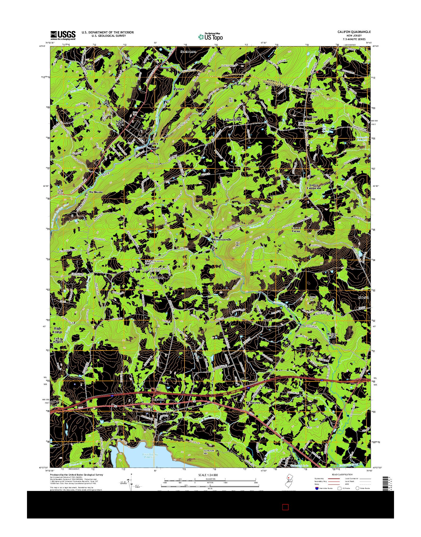 USGS US TOPO 7.5-MINUTE MAP FOR CALIFON, NJ 2014