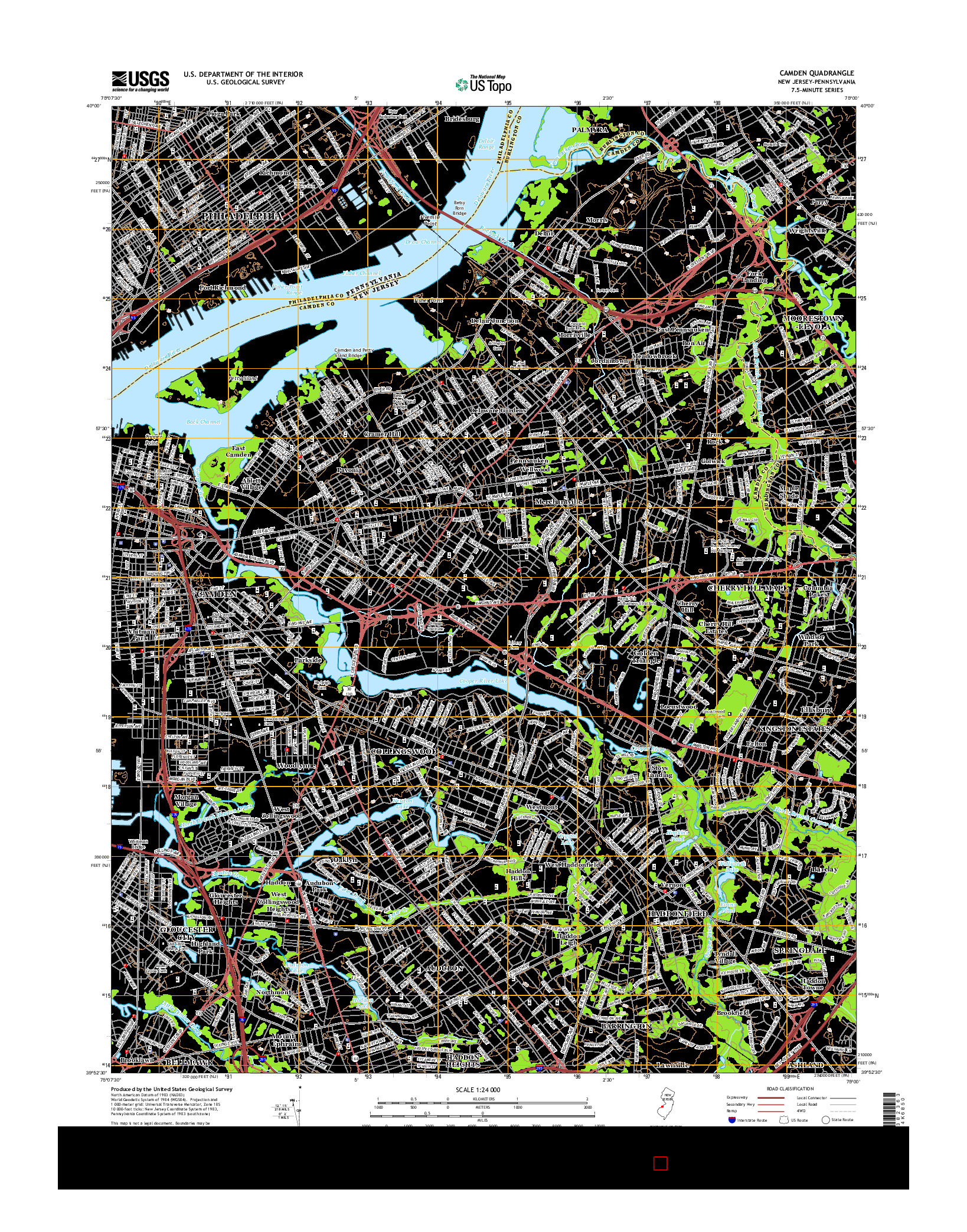 USGS US TOPO 7.5-MINUTE MAP FOR CAMDEN, NJ-PA 2014