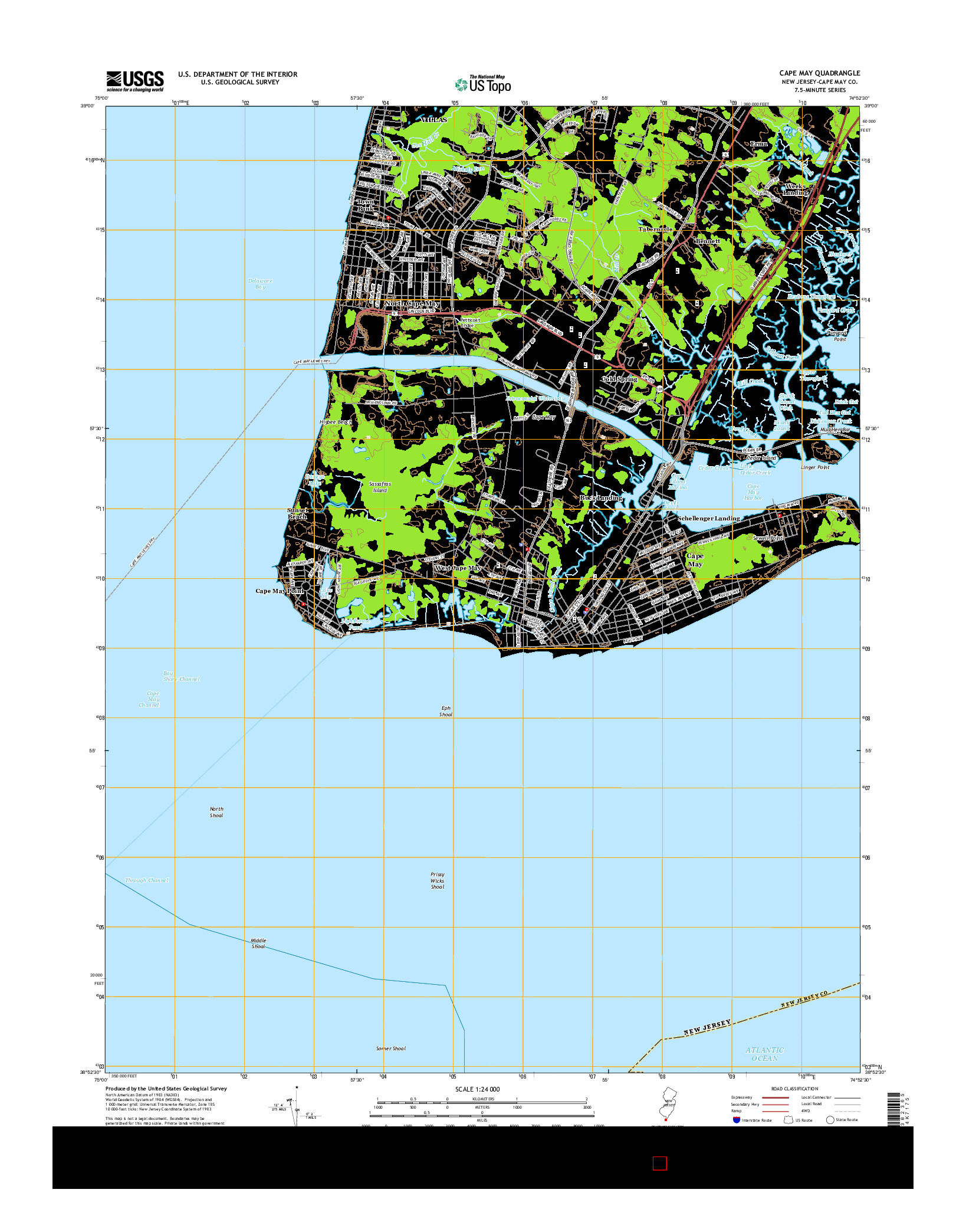 USGS US TOPO 7.5-MINUTE MAP FOR CAPE MAY, NJ 2014