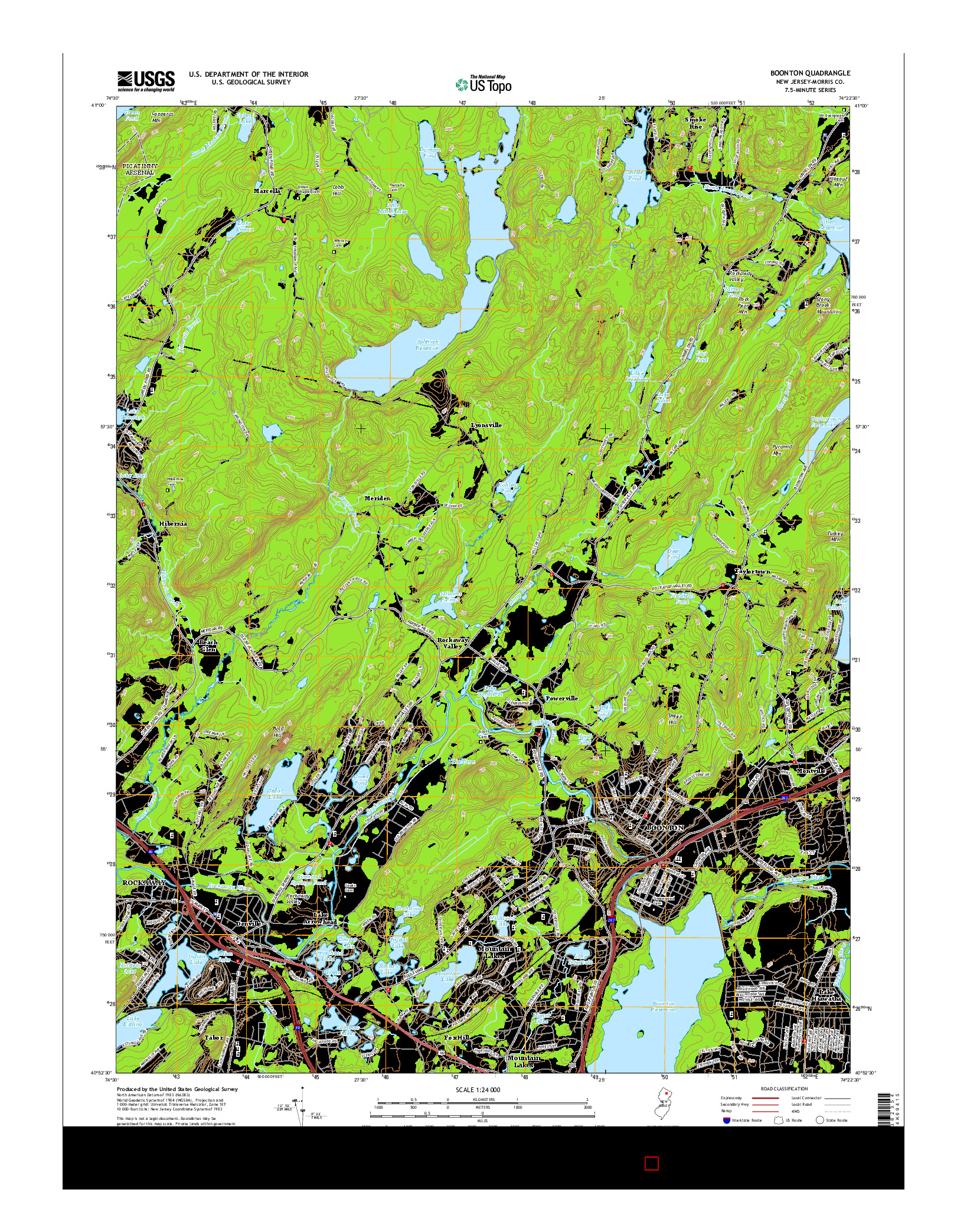 USGS US TOPO 7.5-MINUTE MAP FOR BOONTON, NJ 2014