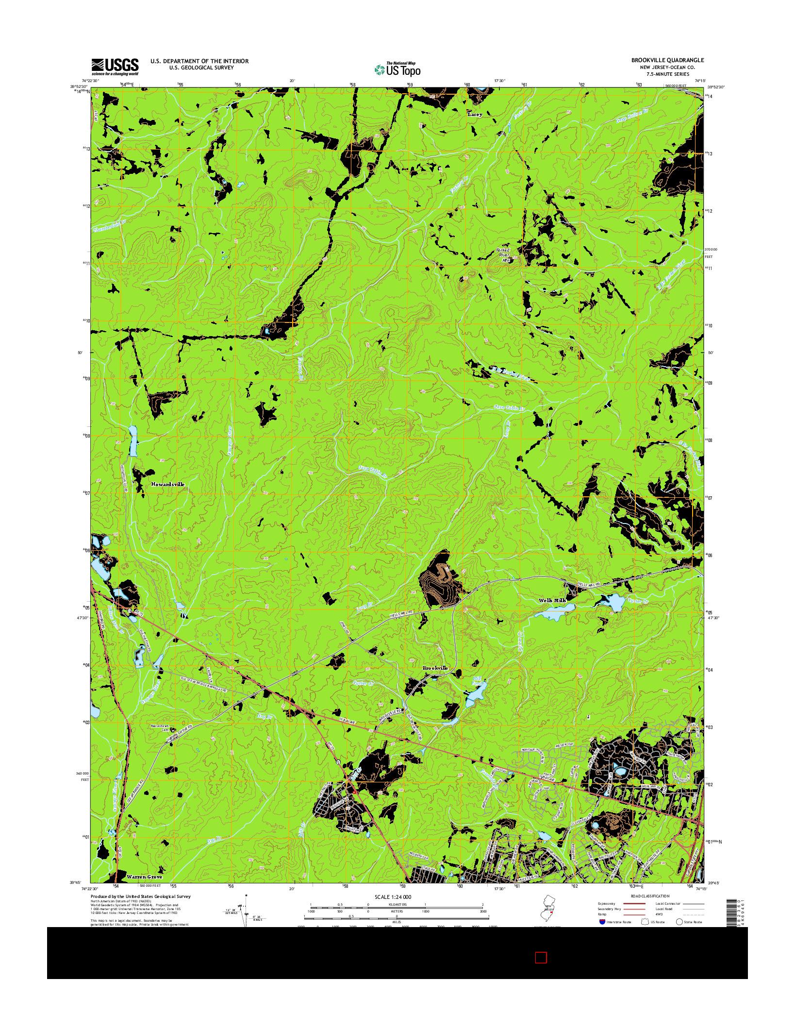 USGS US TOPO 7.5-MINUTE MAP FOR BROOKVILLE, NJ 2014