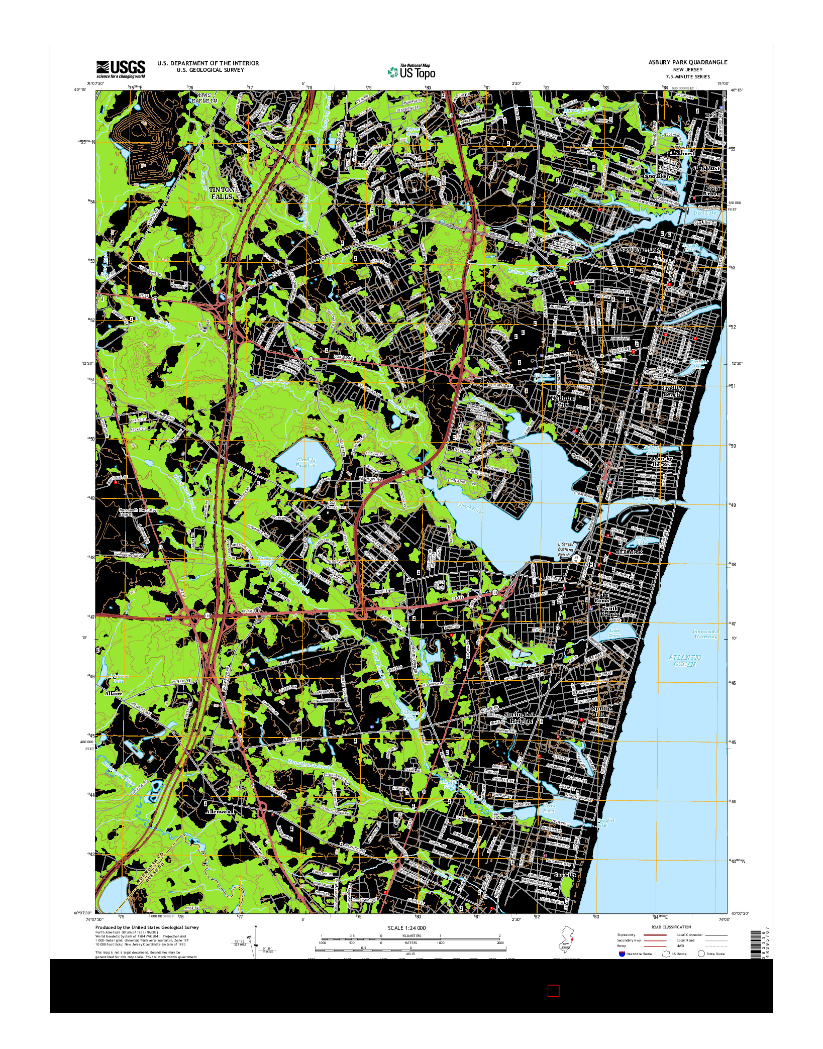 USGS US TOPO 7.5-MINUTE MAP FOR ASBURY PARK, NJ 2014