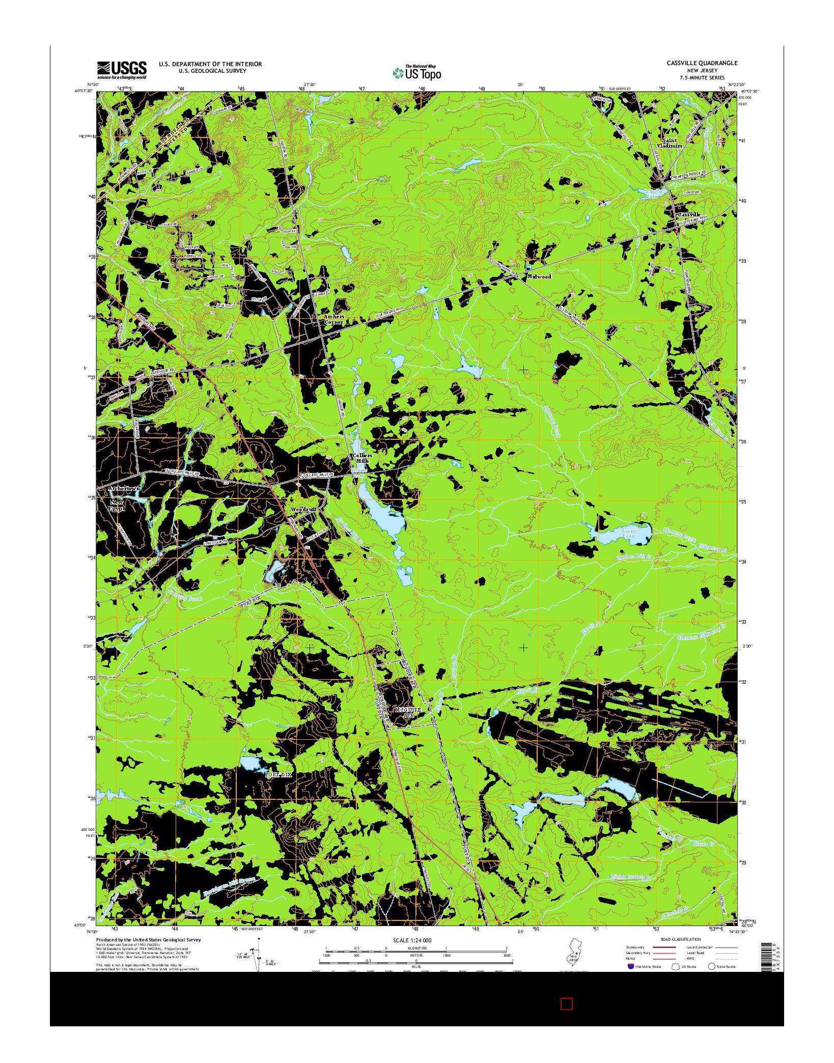 USGS US TOPO 7.5-MINUTE MAP FOR CASSVILLE, NJ 2014
