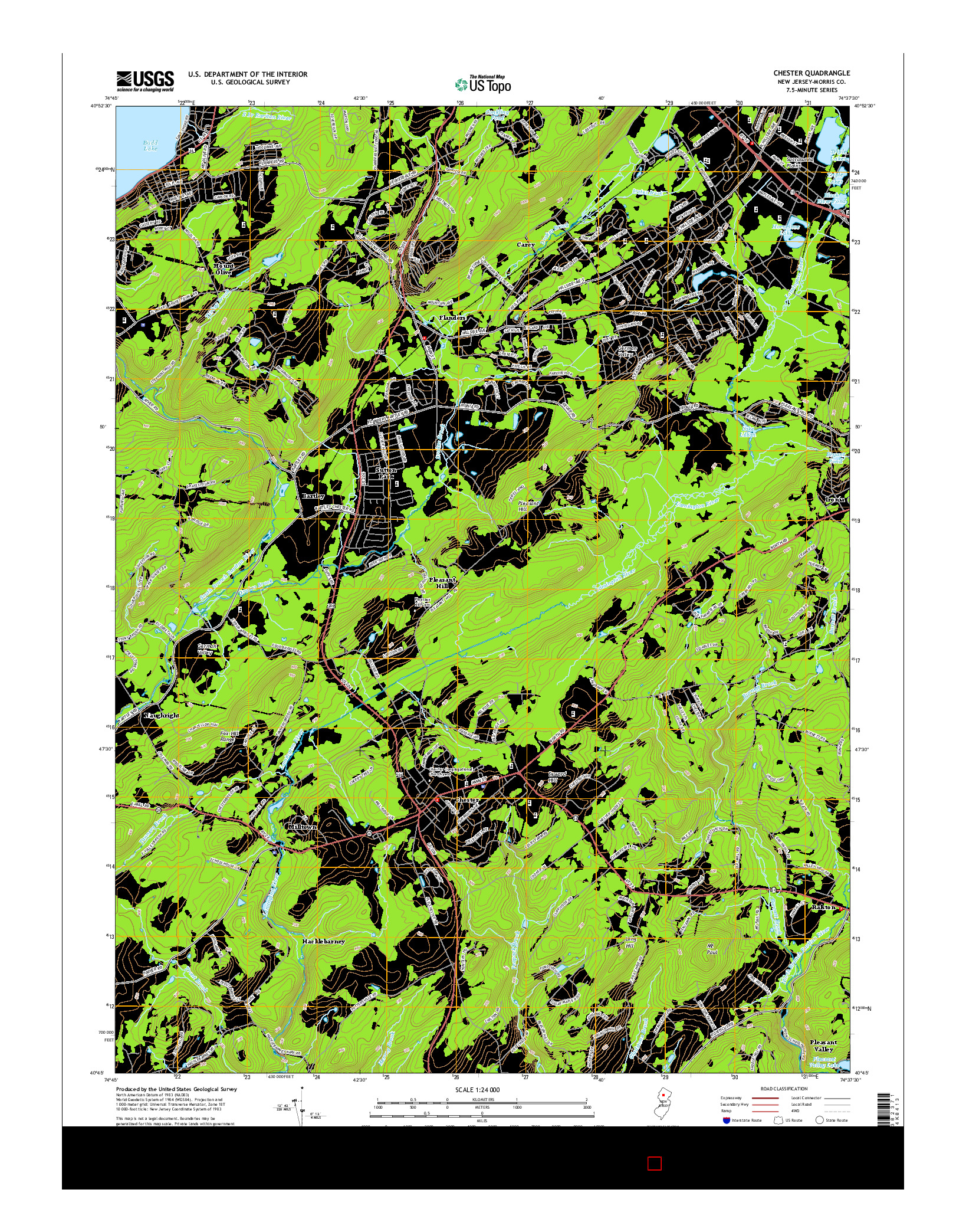 USGS US TOPO 7.5-MINUTE MAP FOR CHESTER, NJ 2014