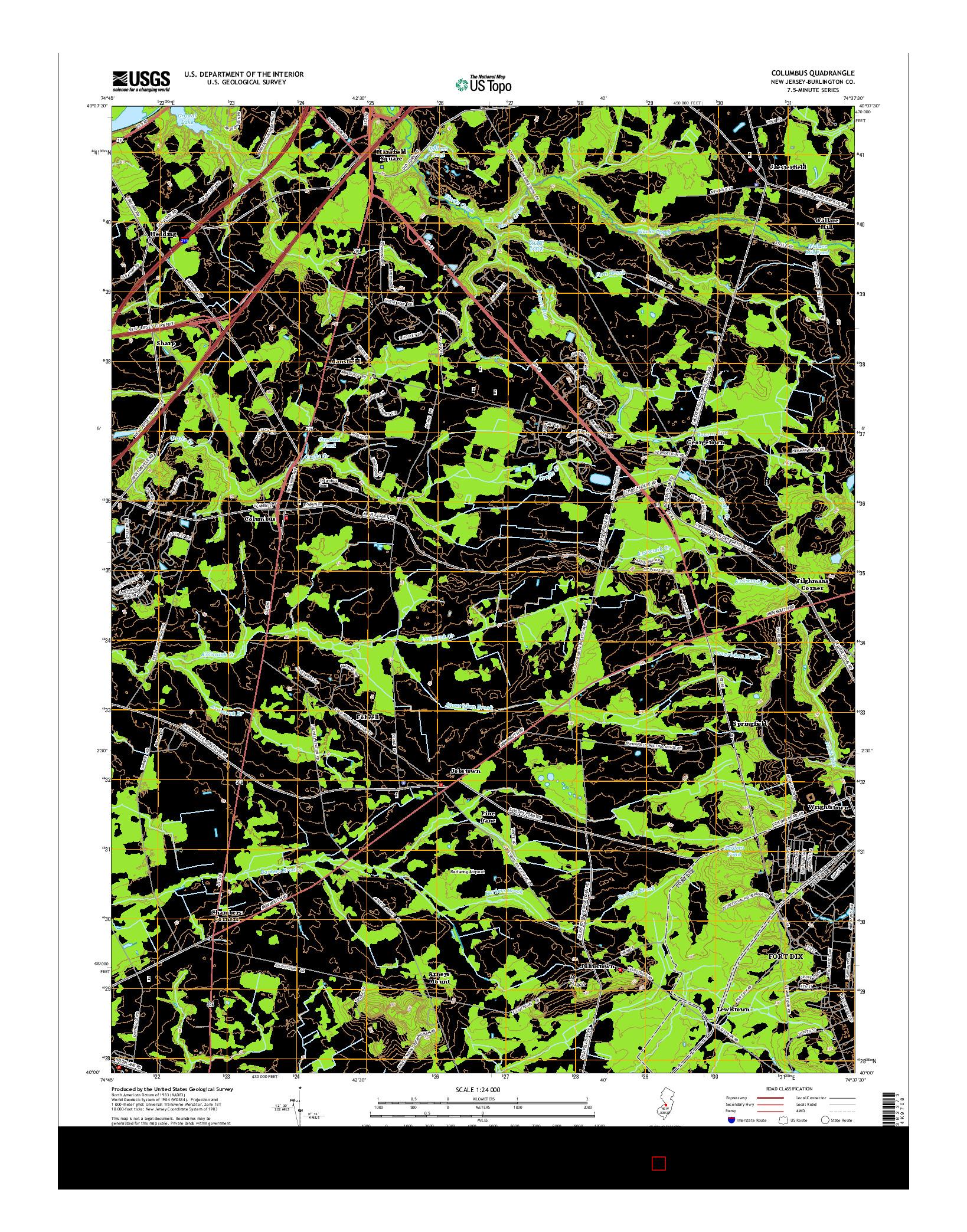USGS US TOPO 7.5-MINUTE MAP FOR COLUMBUS, NJ 2014