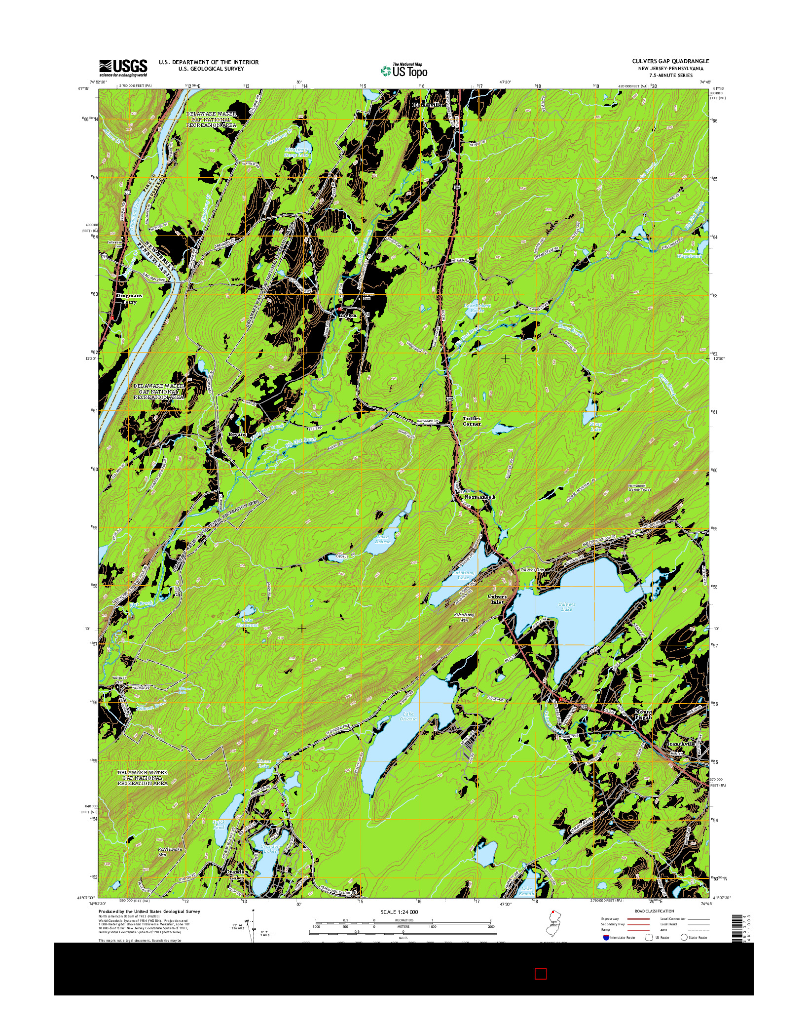 USGS US TOPO 7.5-MINUTE MAP FOR CULVERS GAP, NJ-PA 2014