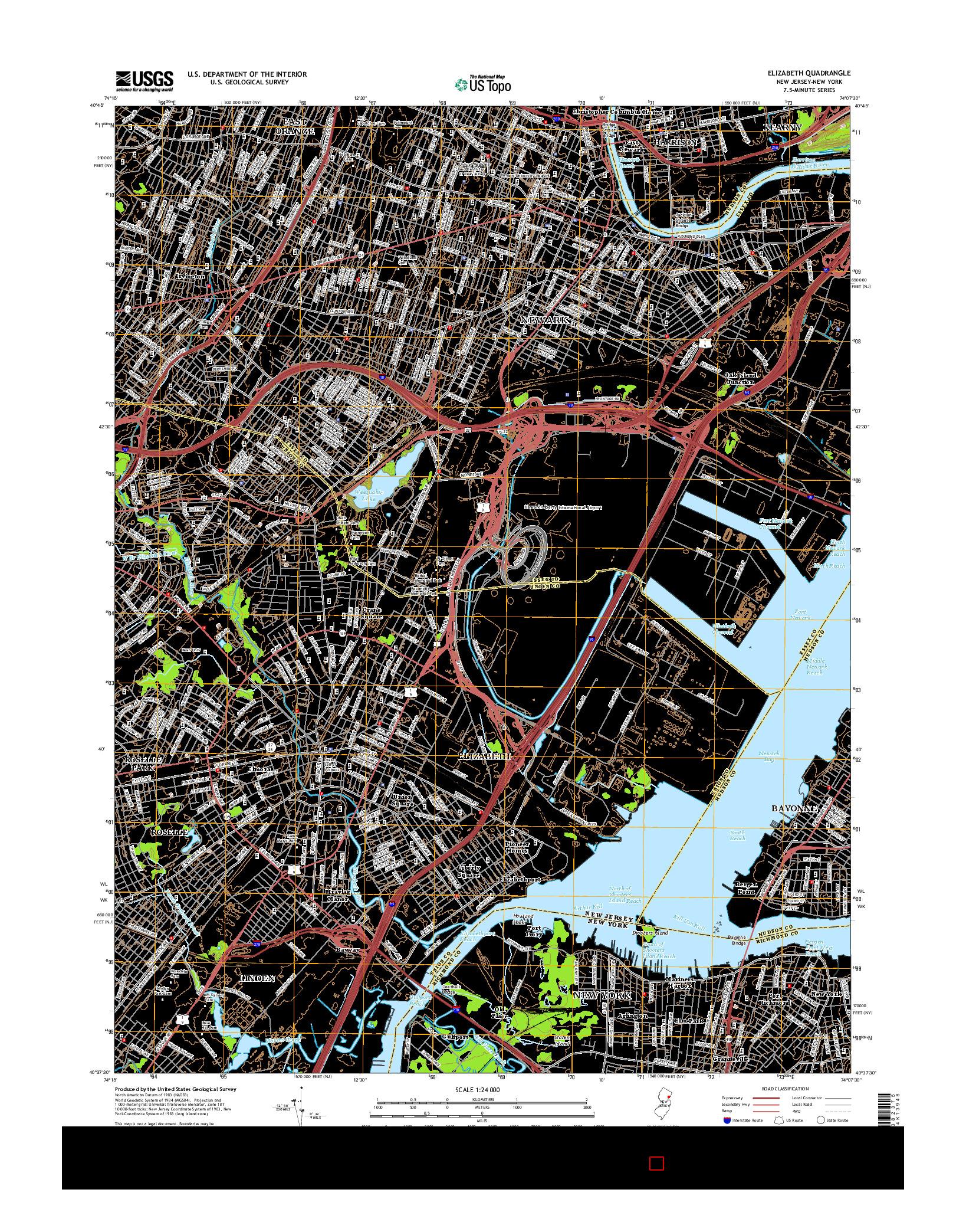 USGS US TOPO 7.5-MINUTE MAP FOR ELIZABETH, NJ-NY 2014