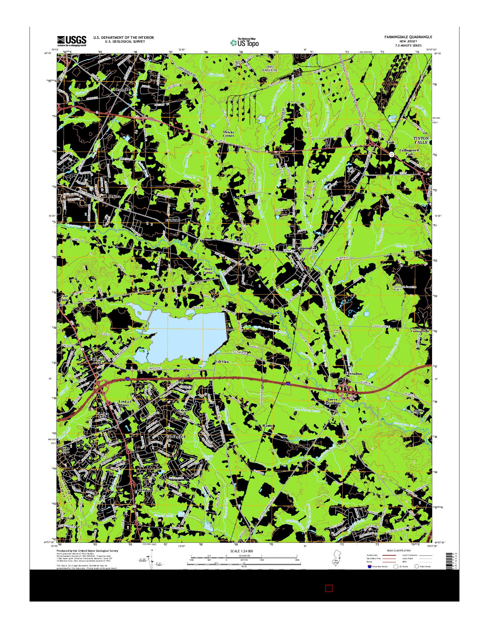 USGS US TOPO 7.5-MINUTE MAP FOR FARMINGDALE, NJ 2014