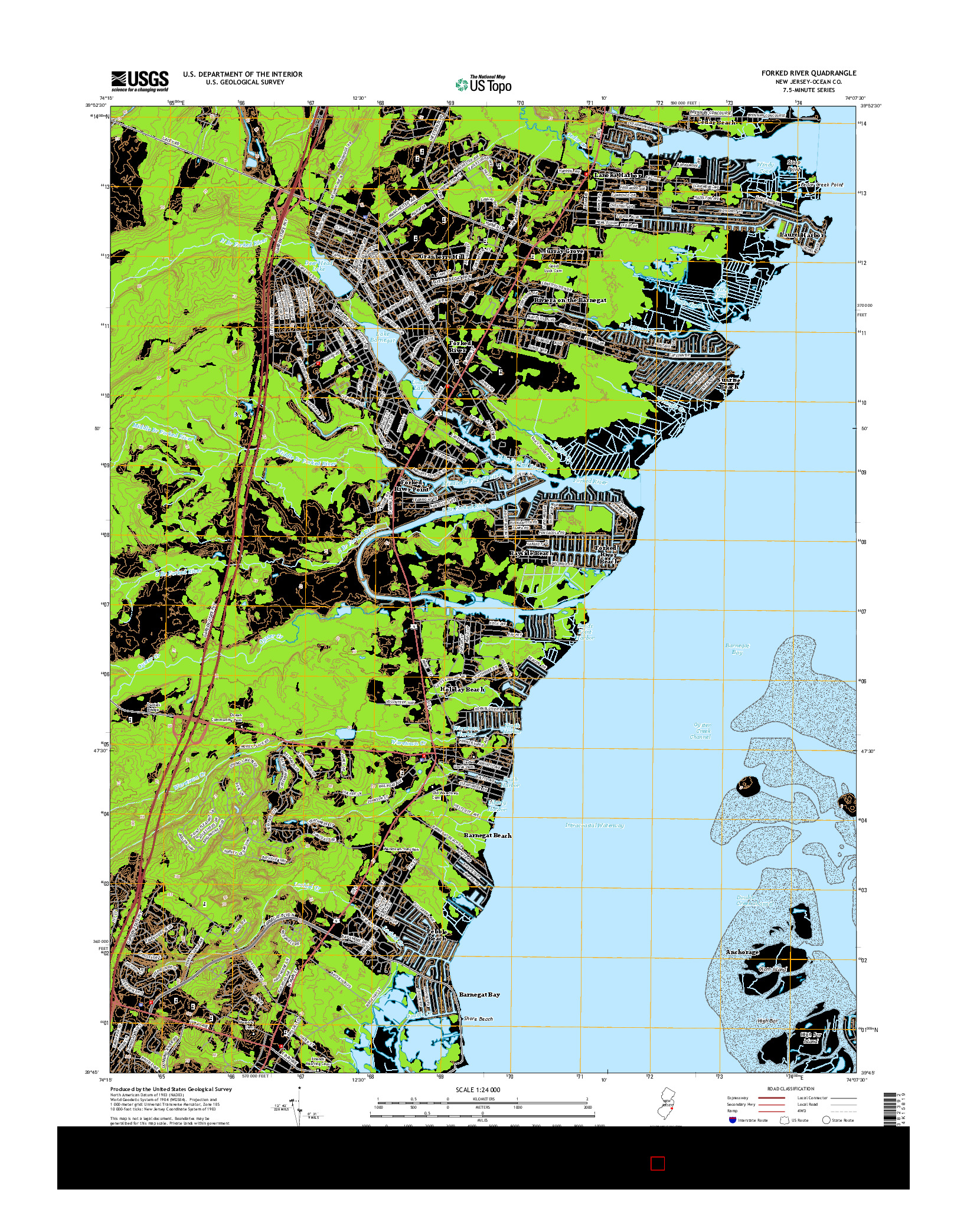 USGS US TOPO 7.5-MINUTE MAP FOR FORKED RIVER, NJ 2014