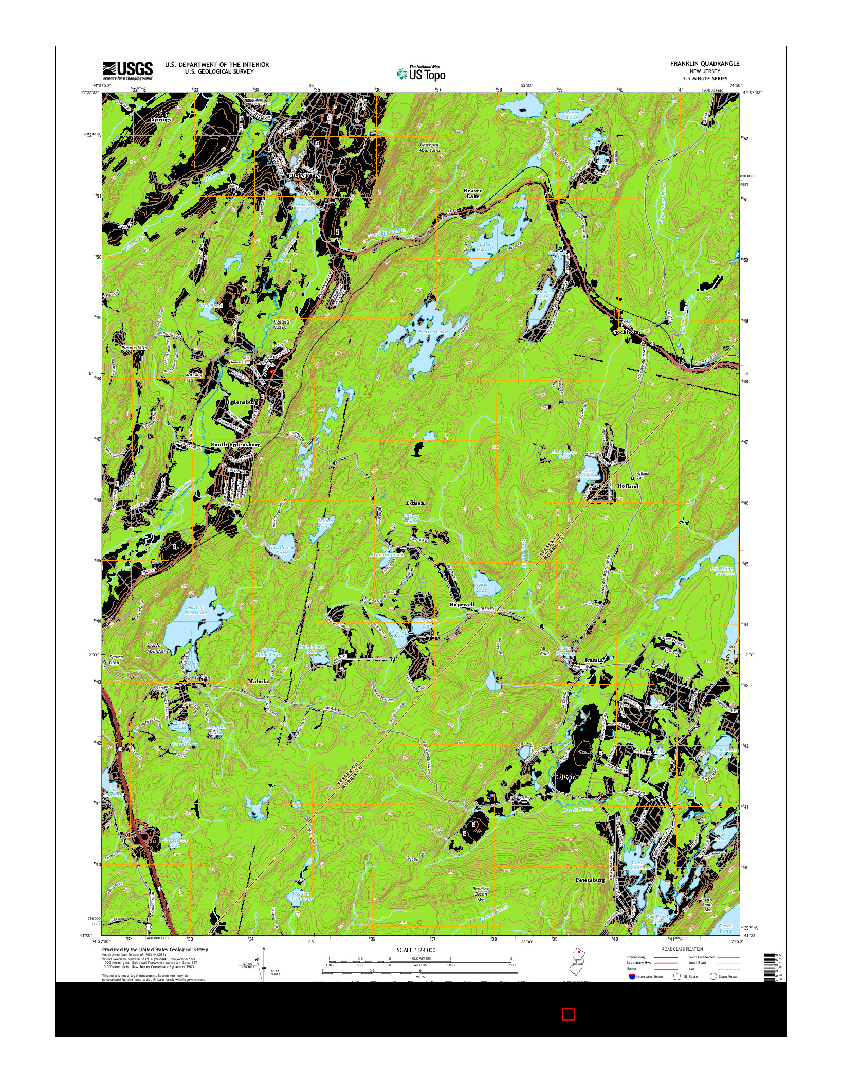 USGS US TOPO 7.5-MINUTE MAP FOR FRANKLIN, NJ 2014