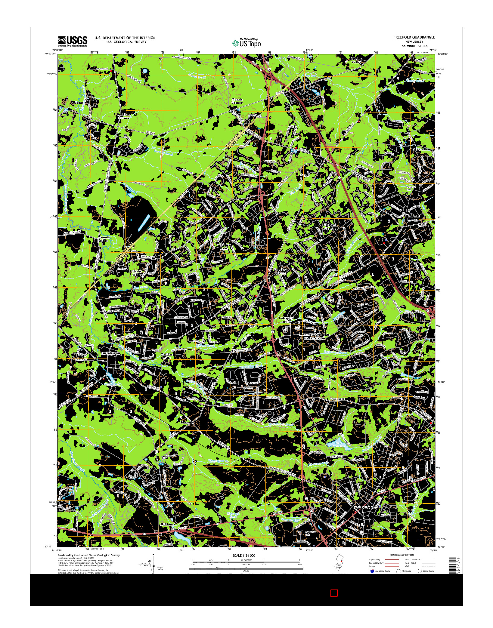 USGS US TOPO 7.5-MINUTE MAP FOR FREEHOLD, NJ 2014