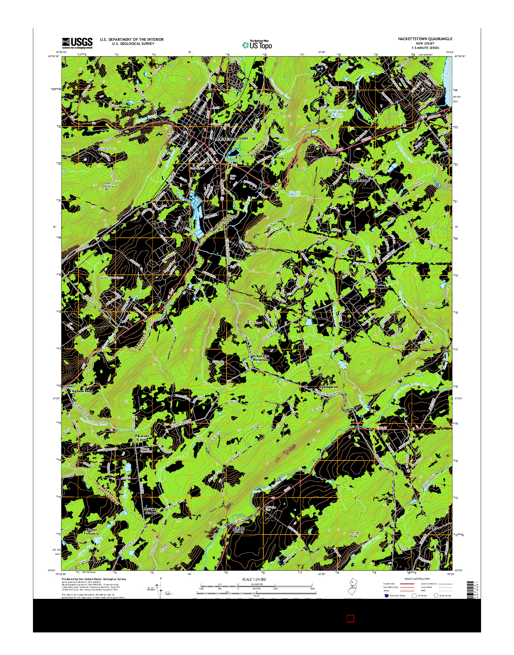 USGS US TOPO 7.5-MINUTE MAP FOR HACKETTSTOWN, NJ 2014