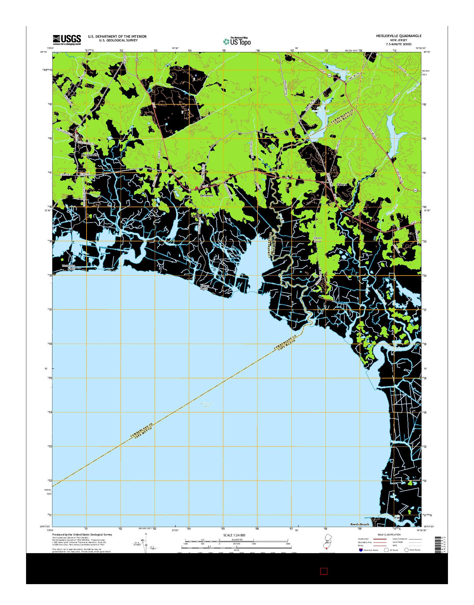 USGS US TOPO 7.5-MINUTE MAP FOR HEISLERVILLE, NJ 2014
