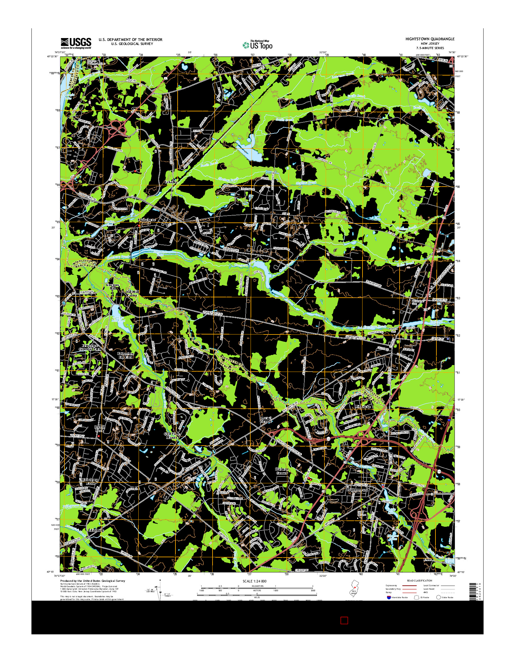 USGS US TOPO 7.5-MINUTE MAP FOR HIGHTSTOWN, NJ 2014