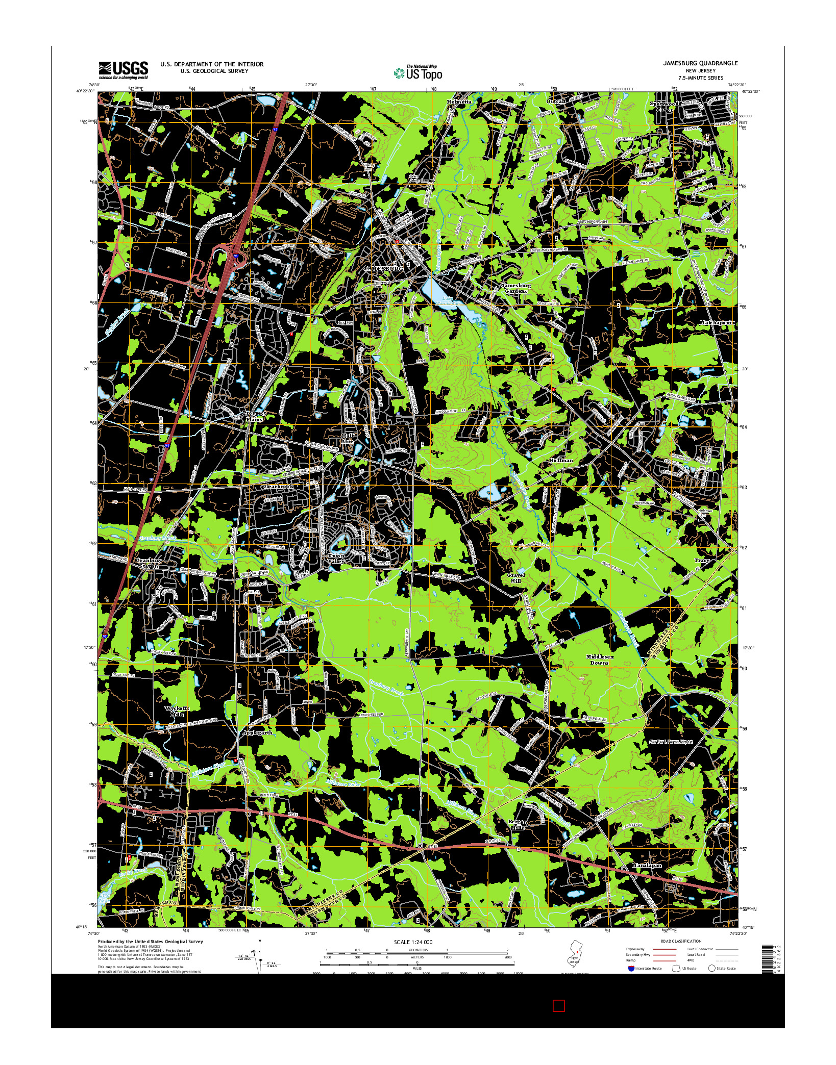 USGS US TOPO 7.5-MINUTE MAP FOR JAMESBURG, NJ 2014