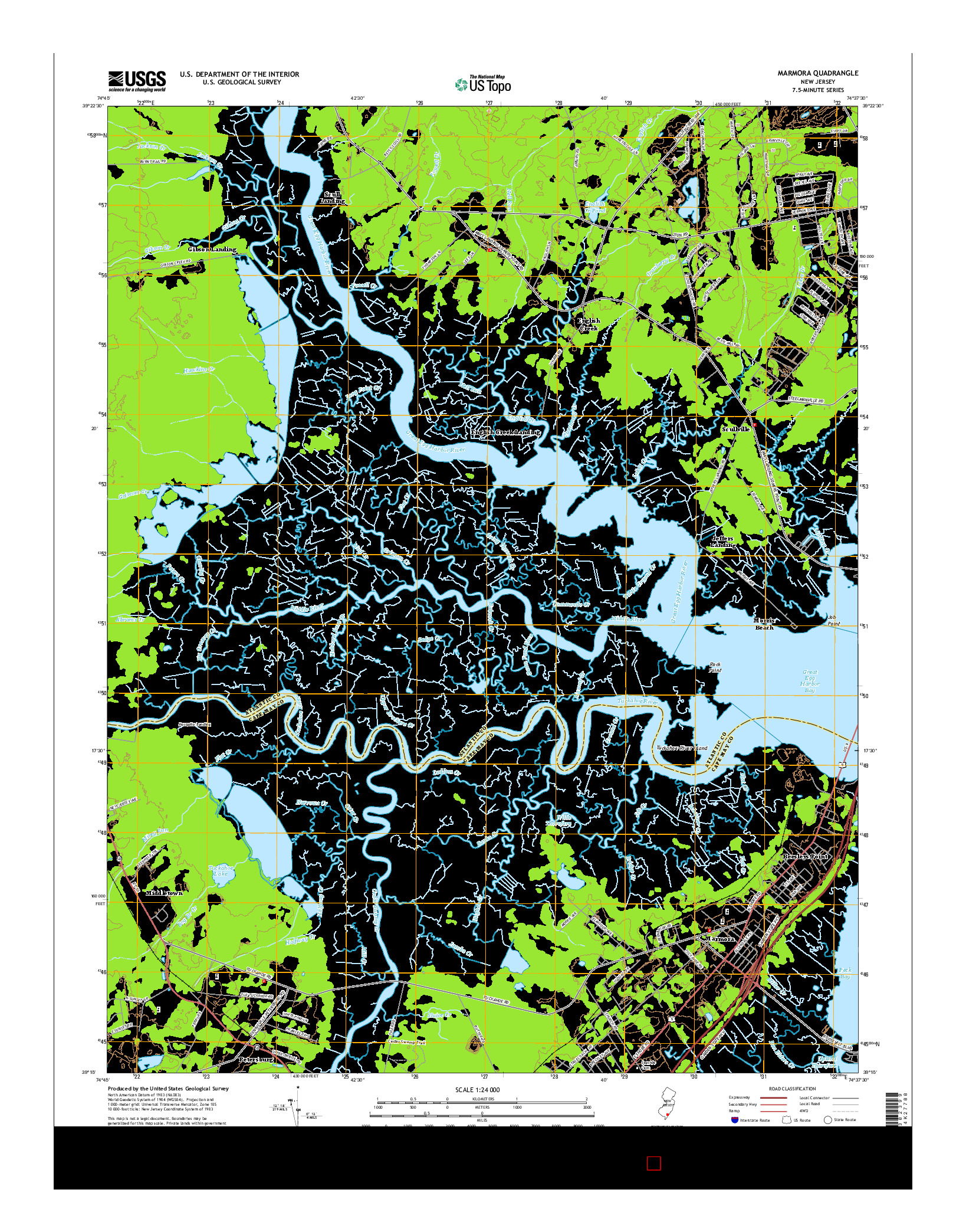USGS US TOPO 7.5-MINUTE MAP FOR MARMORA, NJ 2014
